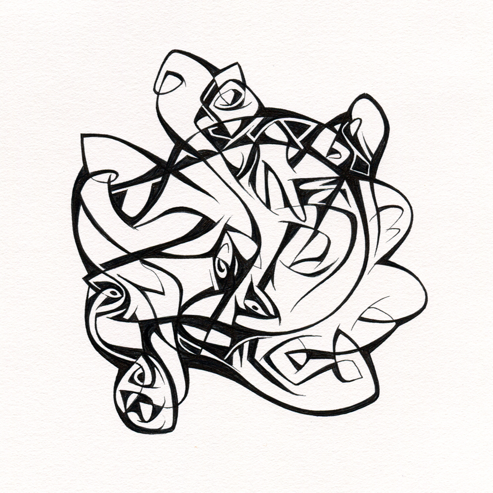 "Untitled Ink Drawing #99 , 2015. Ink on paper. Approximately 5"" x 5""."