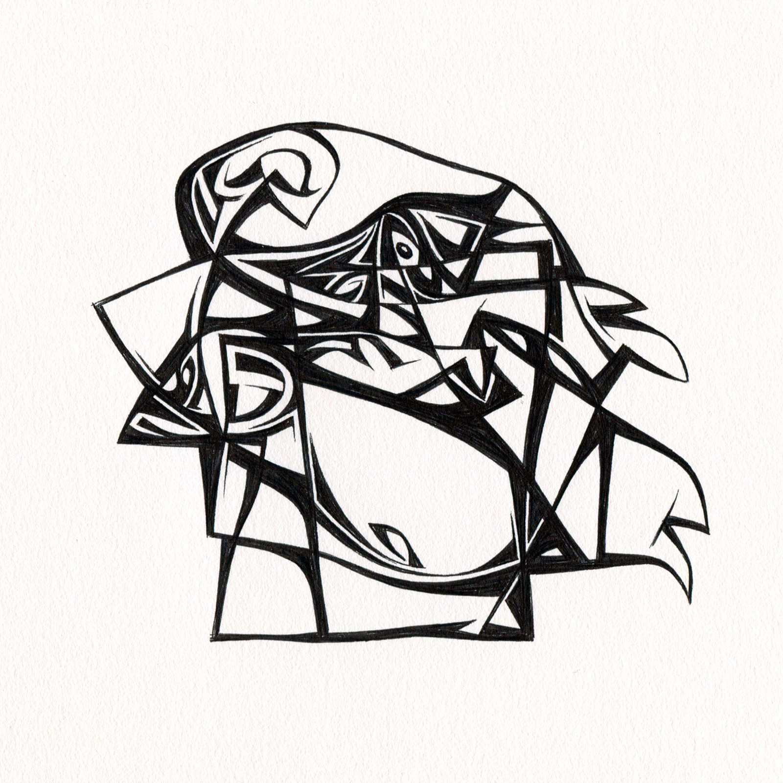 "Untitled Ink Drawing #95 , 2015. Ink on paper. Approximately 5"" x 5""."