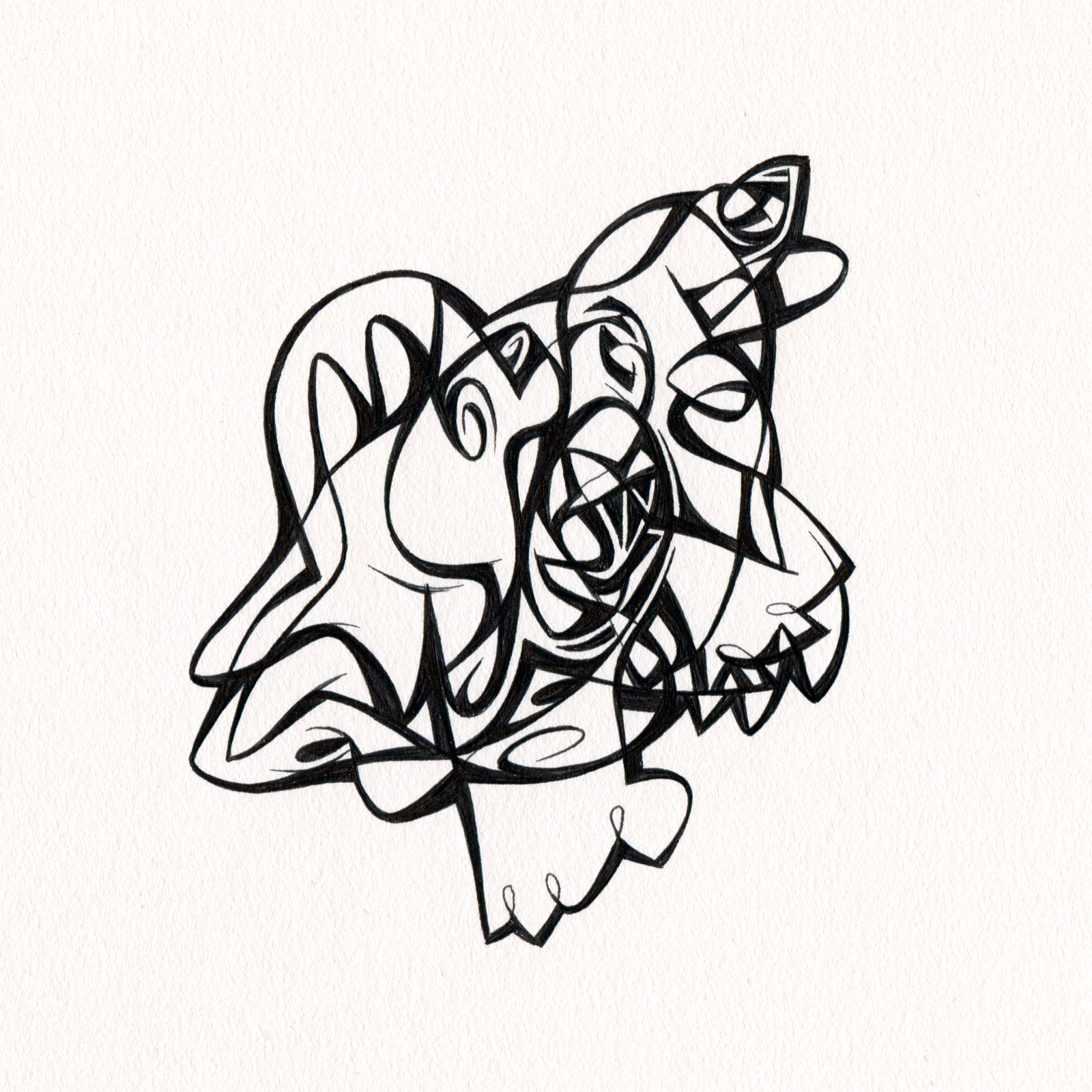 "Untitled Ink Drawing #65 , 2015. Ink on paper. Approximately 5"" x 5""."