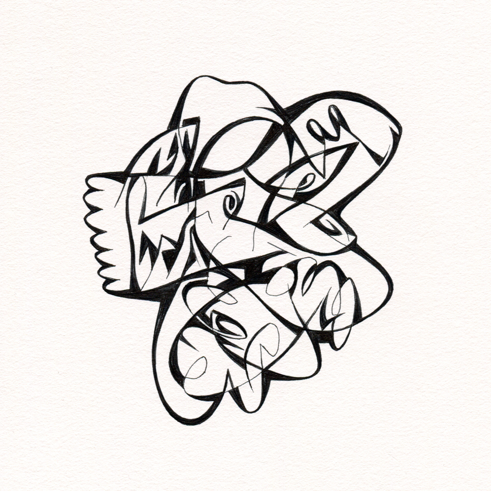 "Untitled Ink Drawing #63 , 2015. Ink on paper. Approximately 5"" x 5""."