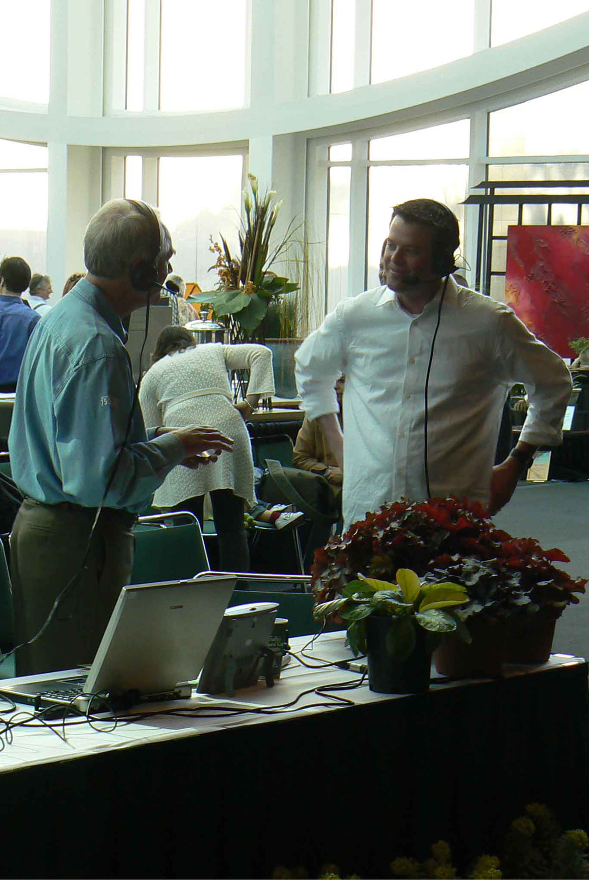 Dave on air speaking with Mike Darcy at the Seattle Flower show.