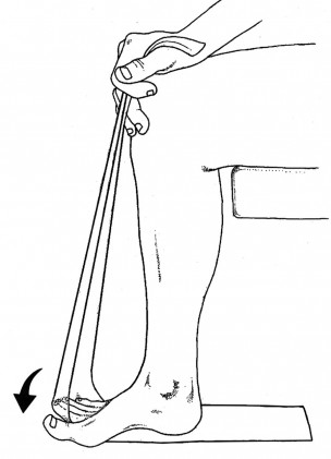 Place a flat piece of TheraBand on the floor beneath your foot. Stabilize it with the heel and forefoot and pull the opposite end of the TheraBand to your knee, thereby lifting your toes. While maintaining tension on the TheraBand, force the toes downward (arrow). Read more  here.
