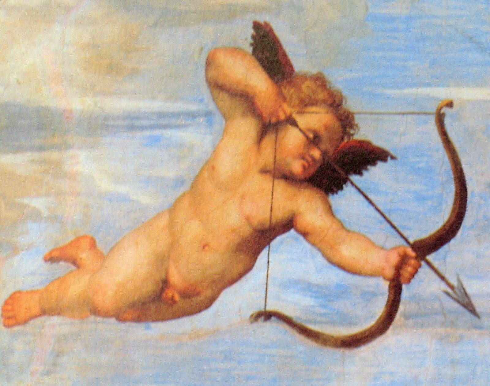 detalle pintura de Rafael, cupido disparando, en la Farnesina de roma.JPG
