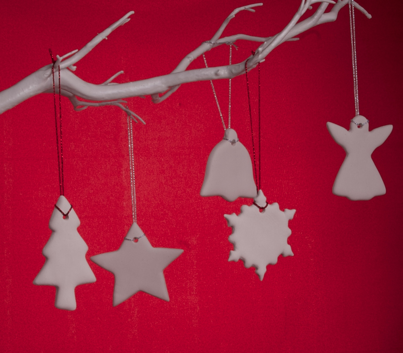 Handmade White Clay Christmas Decorations - £2.50 each or 5 for £10 + p&p