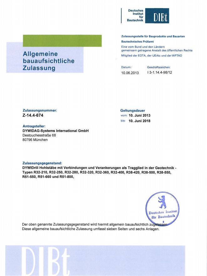 Z-14.4-674 DYWI Drill Hohlstäbe mit Verbindungen und Verankerungen R32, R38, R51
