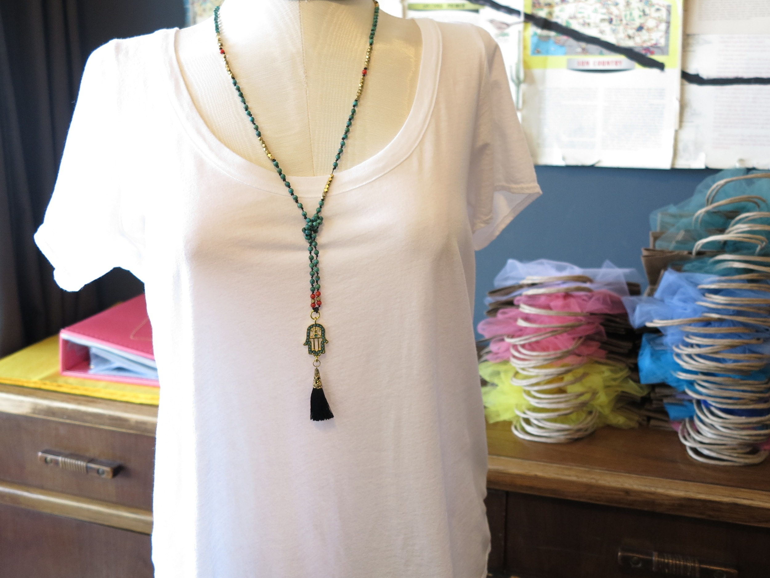 Turquoise Hamsa Long Tassle Necklace