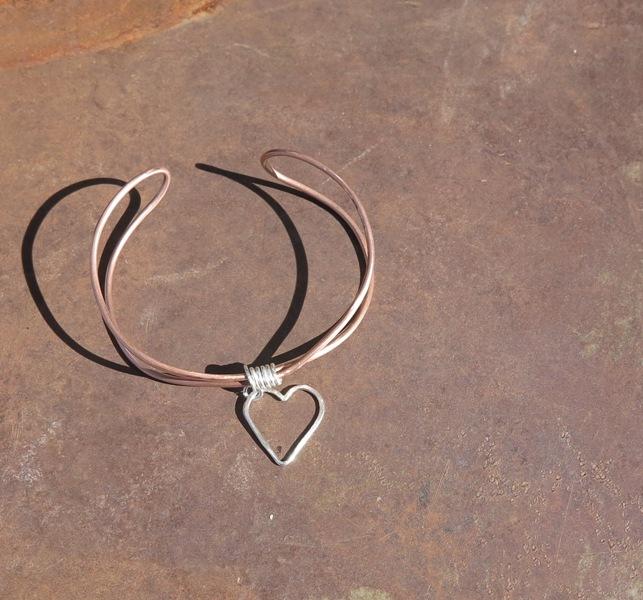 Copper Wire Heart Cuff