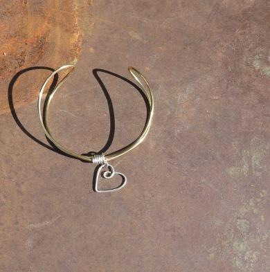 Brass Wire Heart Cuff