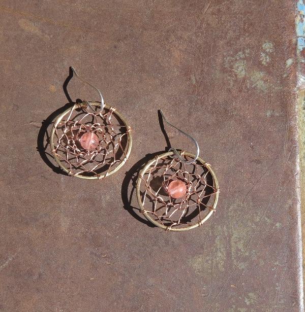 Dreamcatcher Earrings- Pink