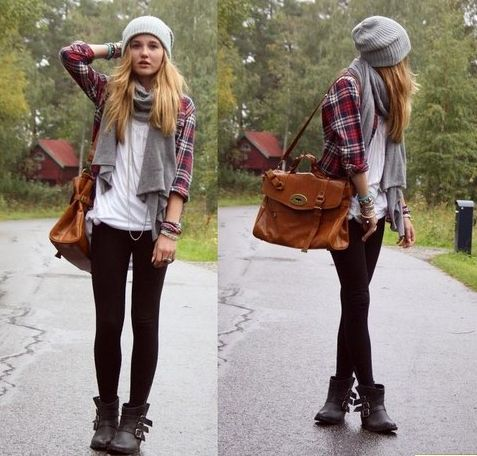 Get the look:  Flannel ,  Forever Black Skinnies ,  Oversized Clutch ,  Heist Beanie ,  Scarf