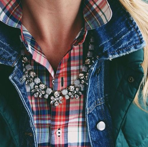 Layer on eye catching and unexpectedjewelry, then layer on outerwear- no color coding required!