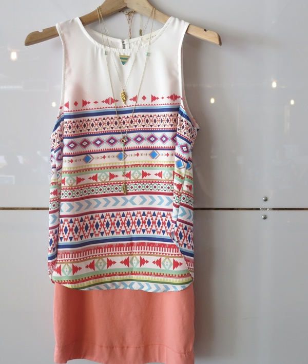 Aztec Tank  +  Slip Dress  +  Dipped Triangle Necklace  +  Angel Wing Pendant