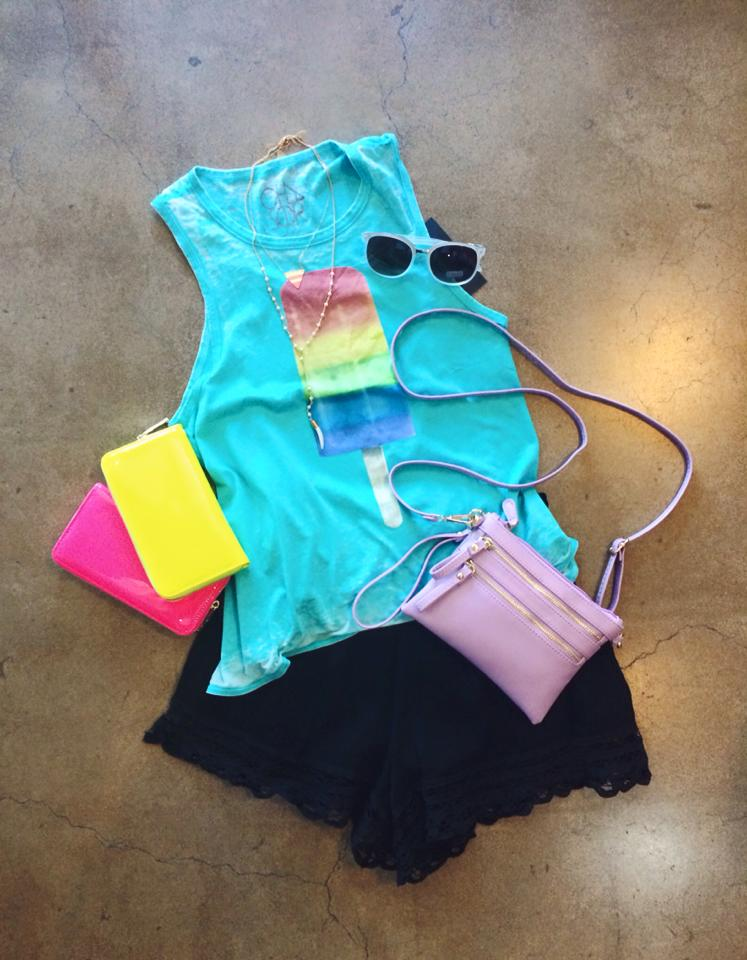Rainbow Pop Tank  +  Festival Short  +  Do it All Crossbody  +  Zip Wallets  +  Carved Bone Necklace  +  Dipped Triangle Necklace