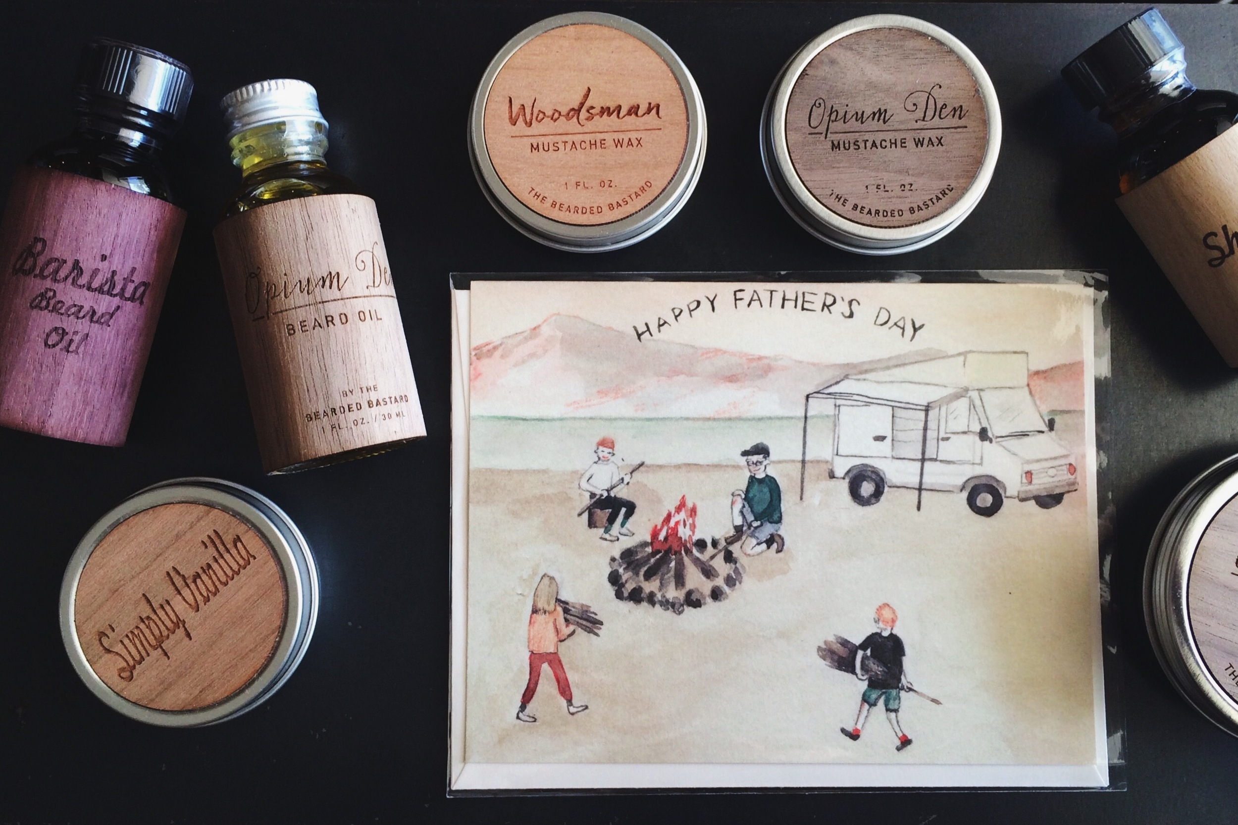 """The """"Beard Gear"""" Bunky Box includes a beard balm and beard oil and quirky card for dad!"""