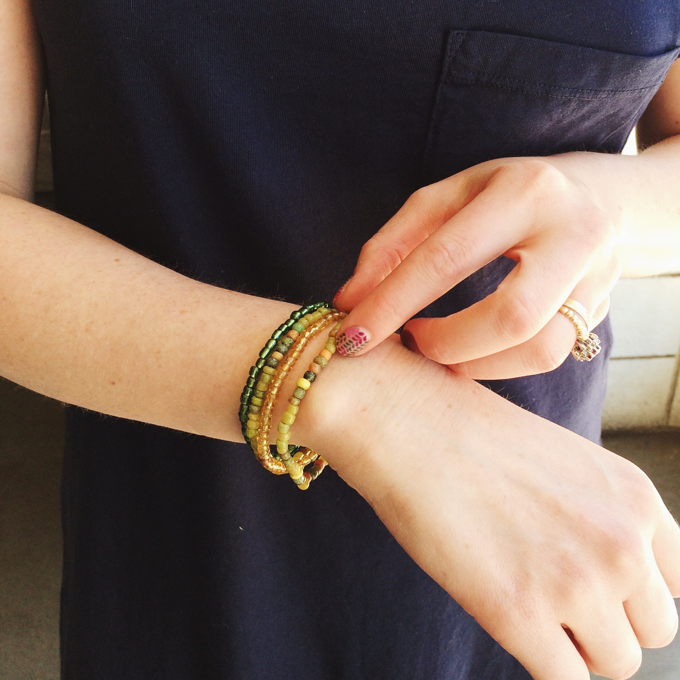 "Seasonal inspired treasures to mix, match and stack. Shown: ""Cactus Stack"" bracelet set, $20"