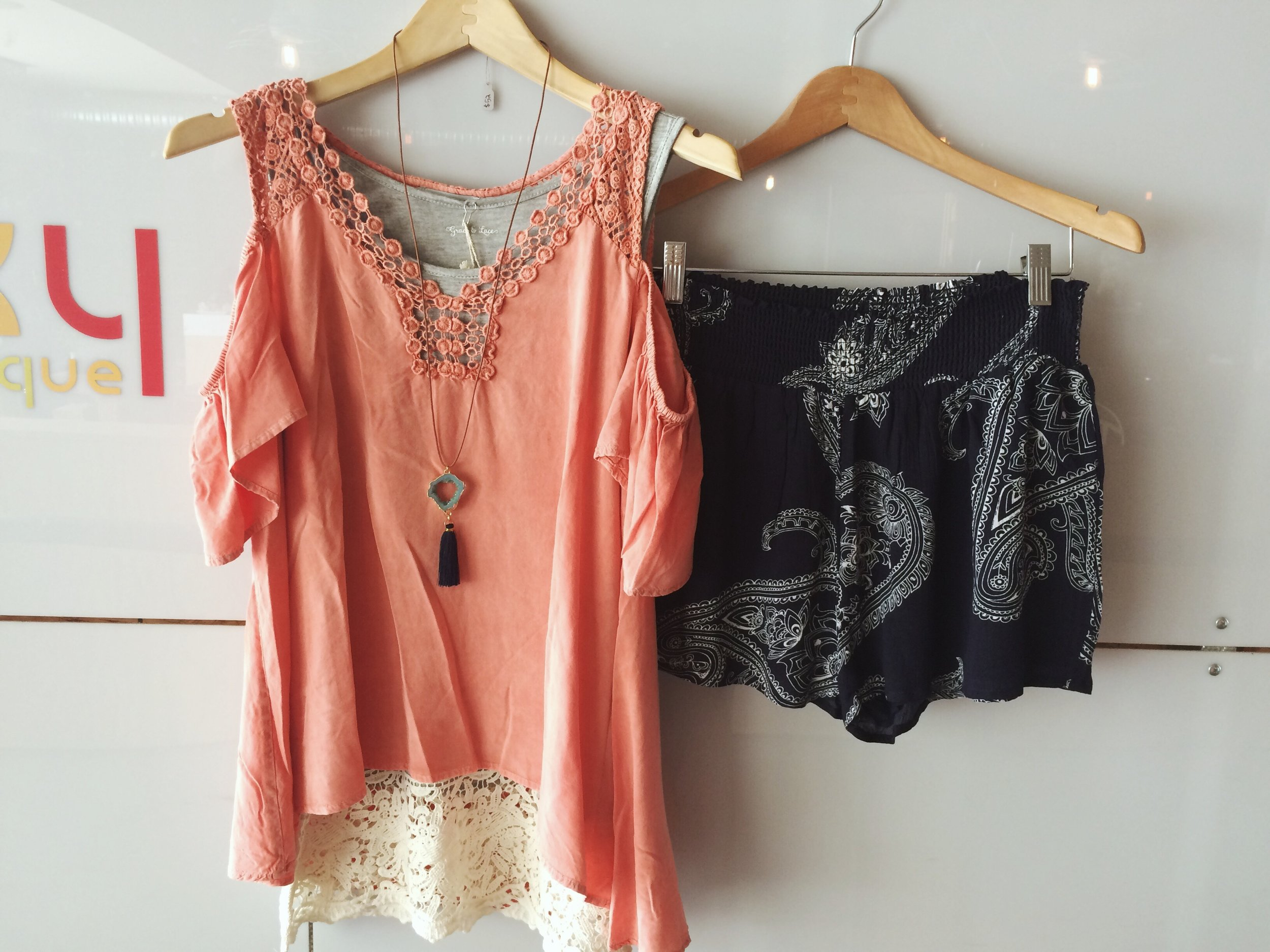 The  Lace Tank Extender  layered under the Lolla Top, paired with the  Paisley Short