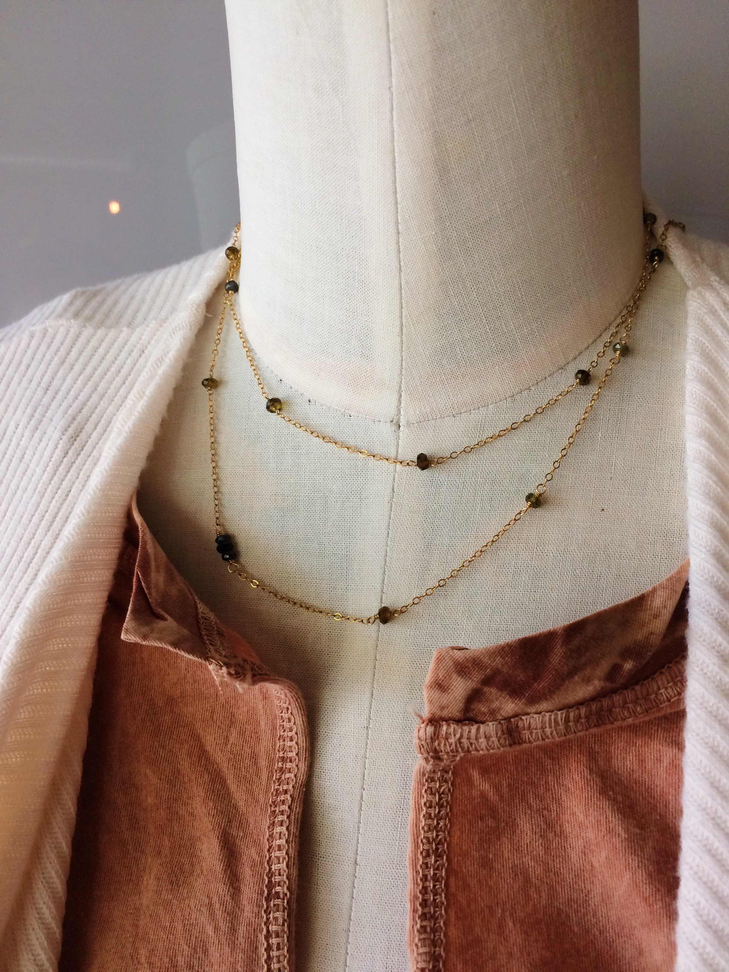 A close up look at the Sapphire layering necklace