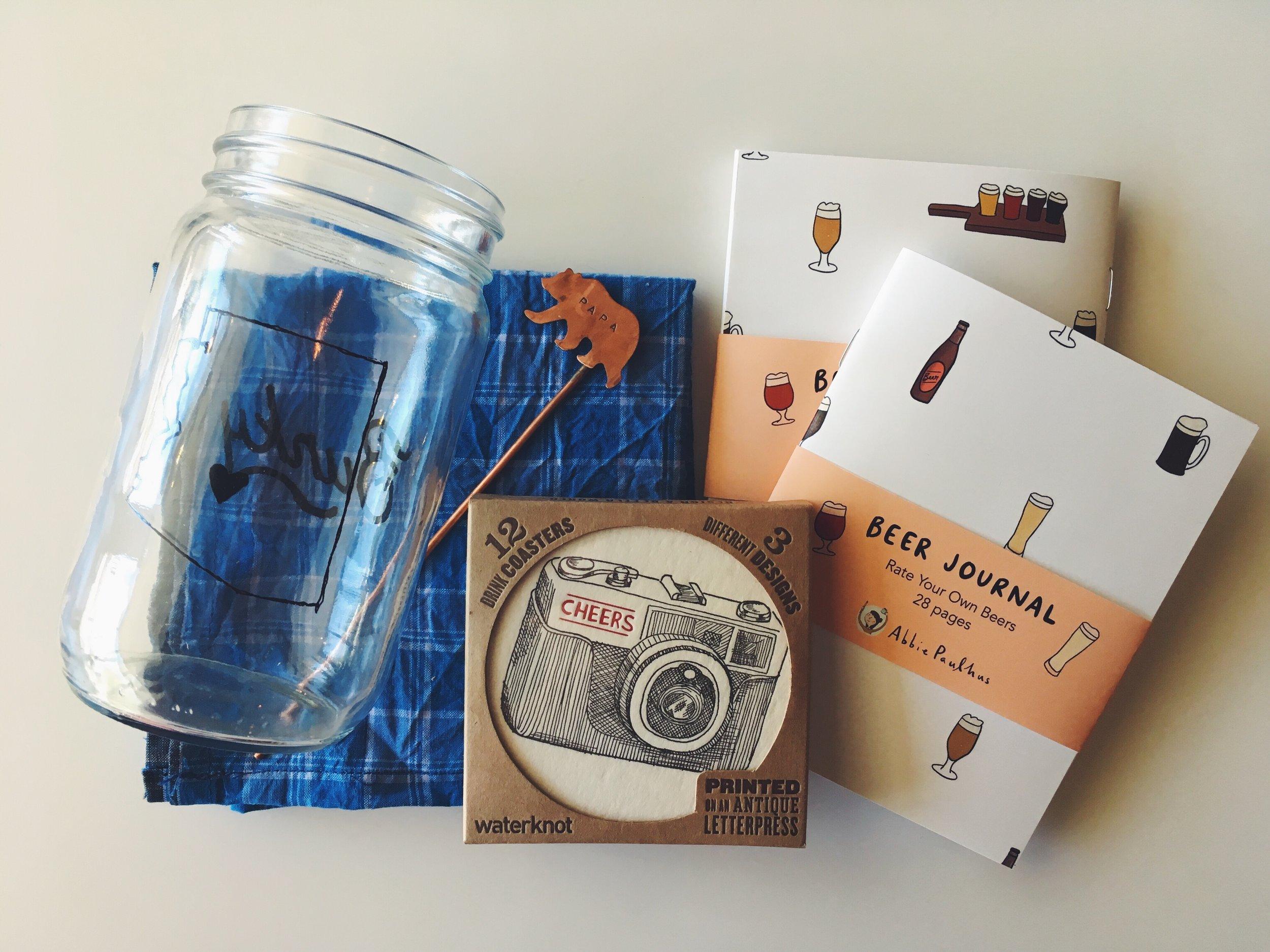 Above: Mason Jar ($8),  Linen Handkerchief , Papa Bear Stir Stick ($25),  Analog Coasters ,  Beer Journals