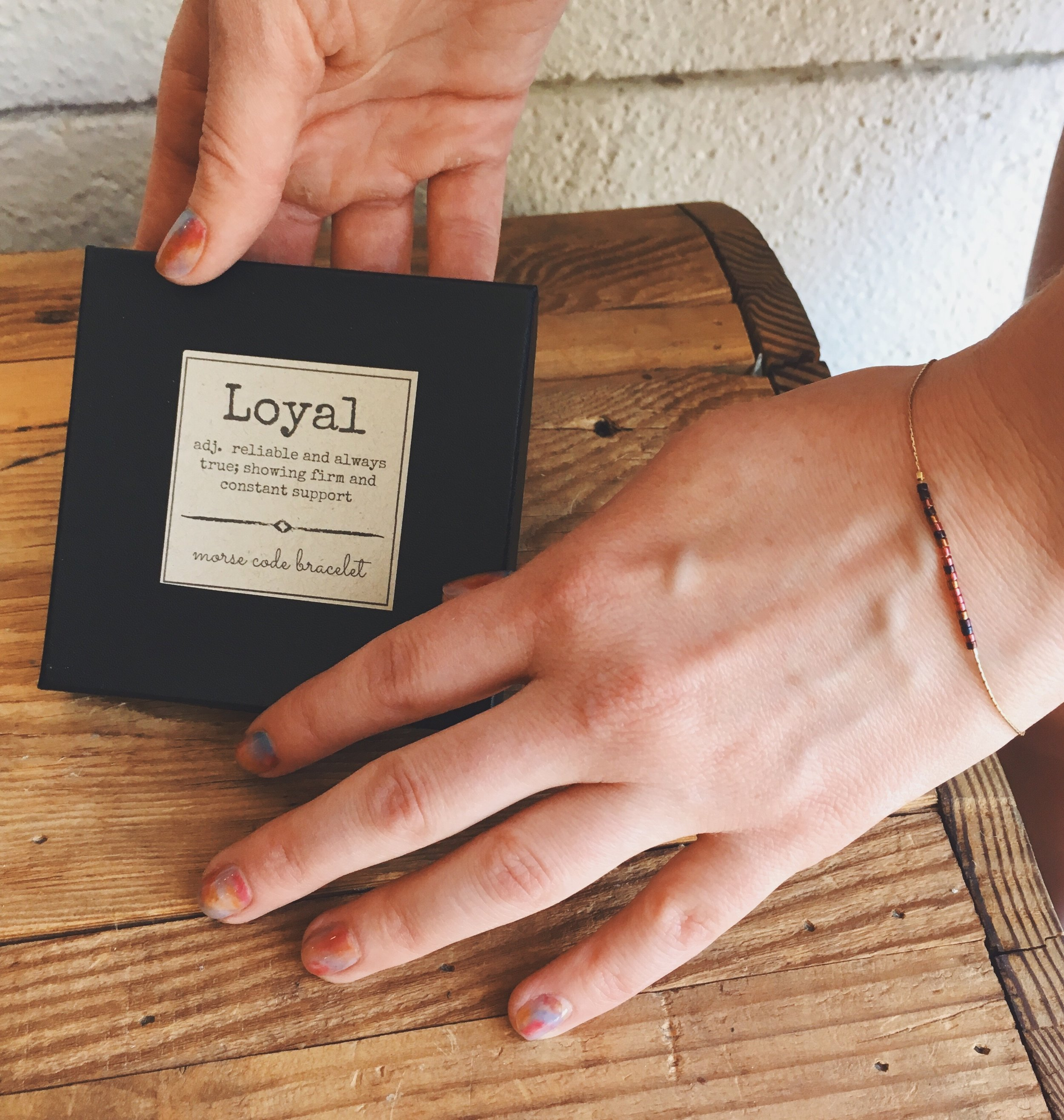 LOYAL Morse Code Bracelet; part of our 11-year commemorative collection