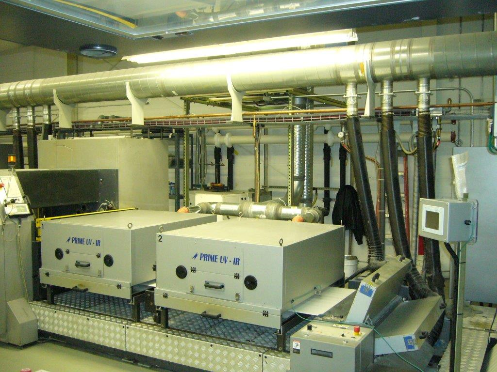 - PRIME IR Action Dryer System installed in the extended delivery after the coating unit on a Man Roland Sheetfed Press