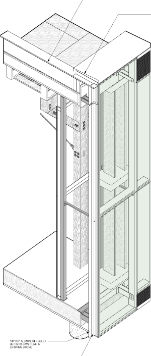 The double-wall, ventilated facade is composed of two layers of 1-inch thick, clear, high-performance insulating glass, which runs from floor to ceiling. These low-emissivity coated units are separated by a 3-foot, 5-inch ventilated airspace. This space houses the 1-foot wide vertical, western red cedar louvers which are turned to either admit or block sunlight as required to modulate heat gain.