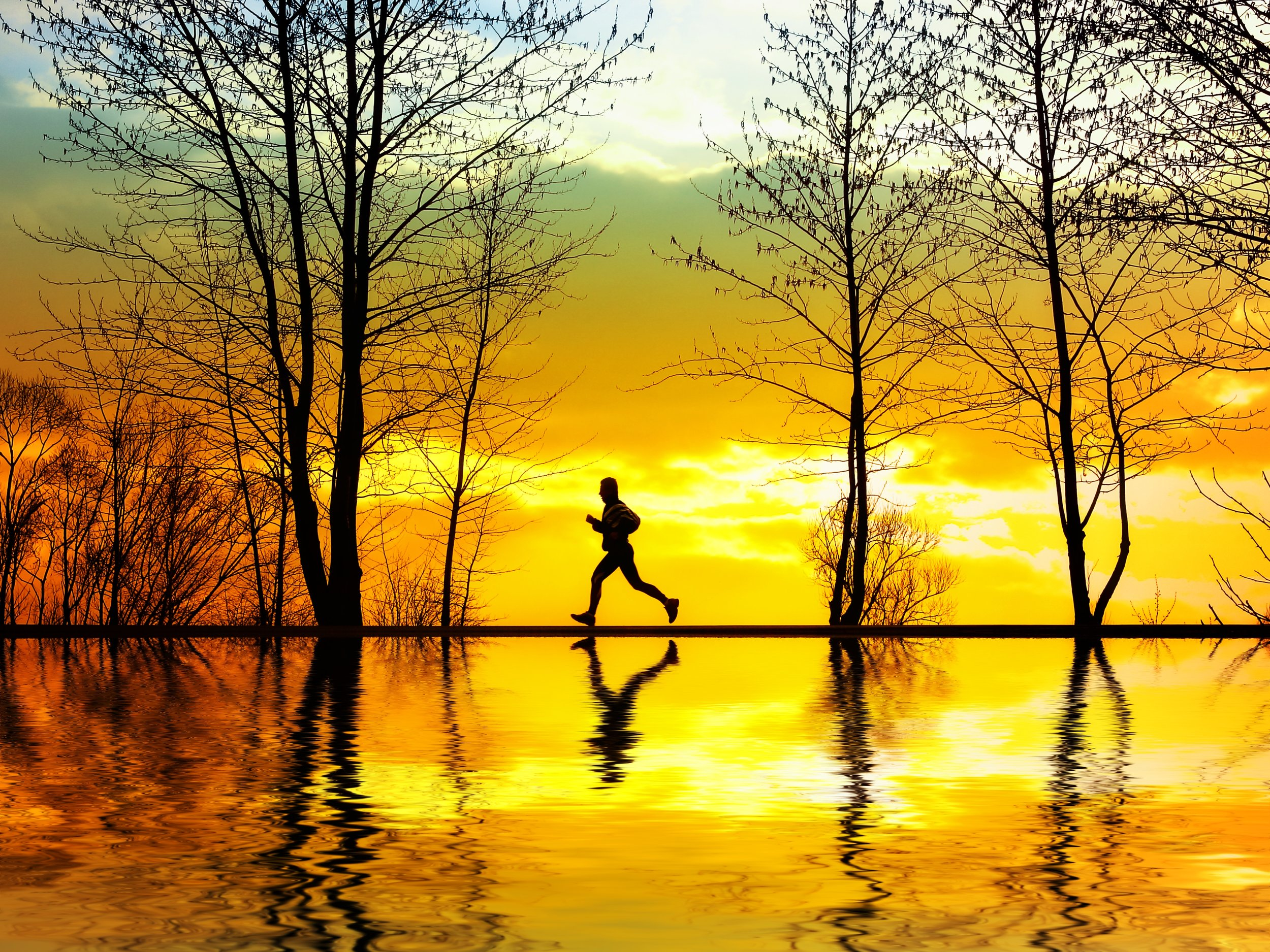 Running at sunset