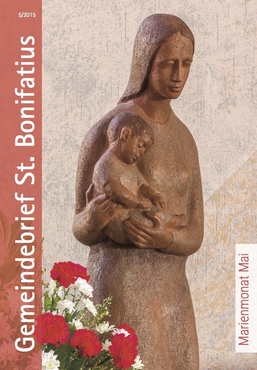 Die Titelseite des Gemeindebriefes zeigt eine Marienfigur in unserer Kirche St. Andreas