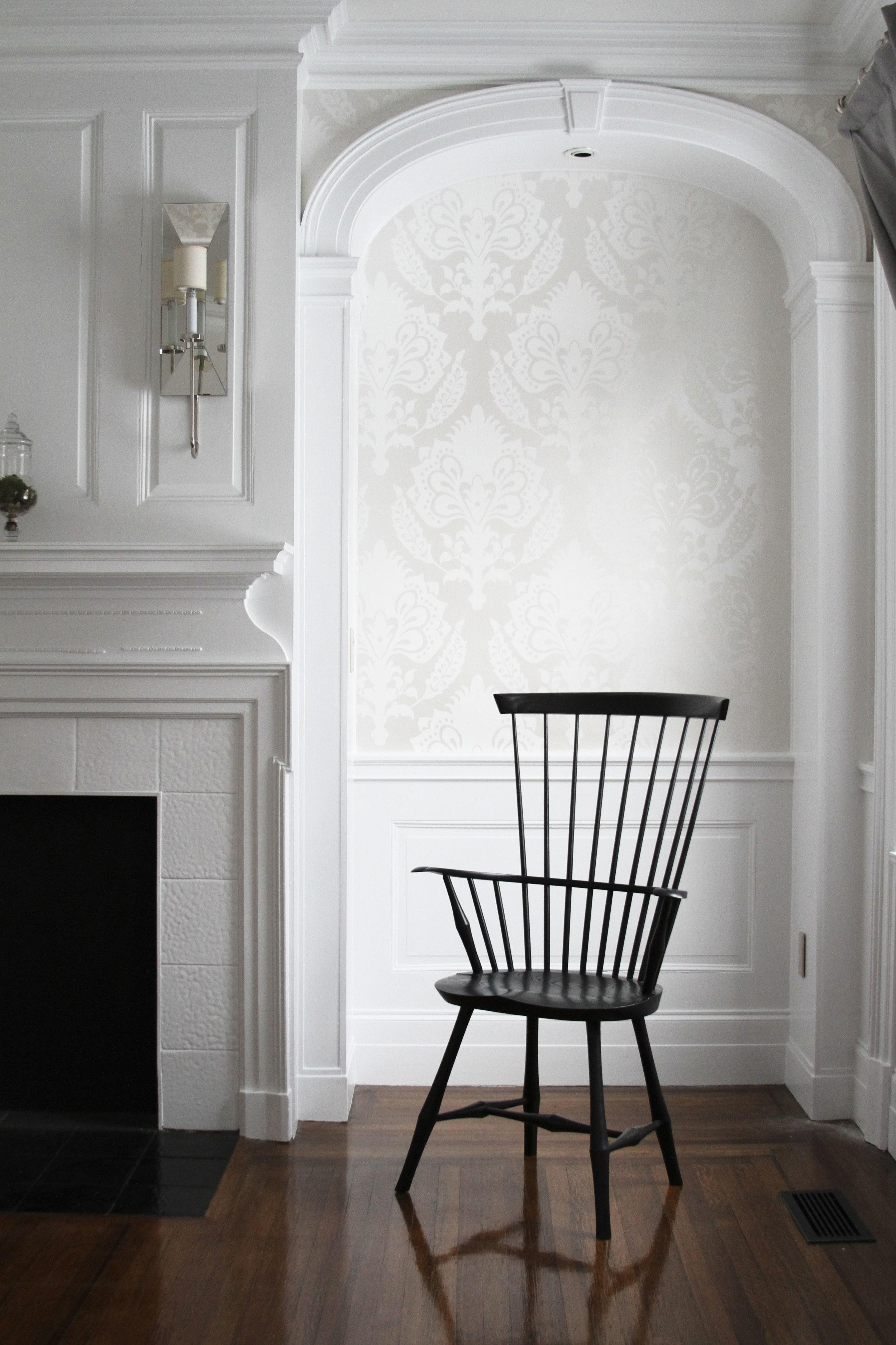 O&G Studio Wayland Highback Armchair Windsor Chair Ebony Stain Ash
