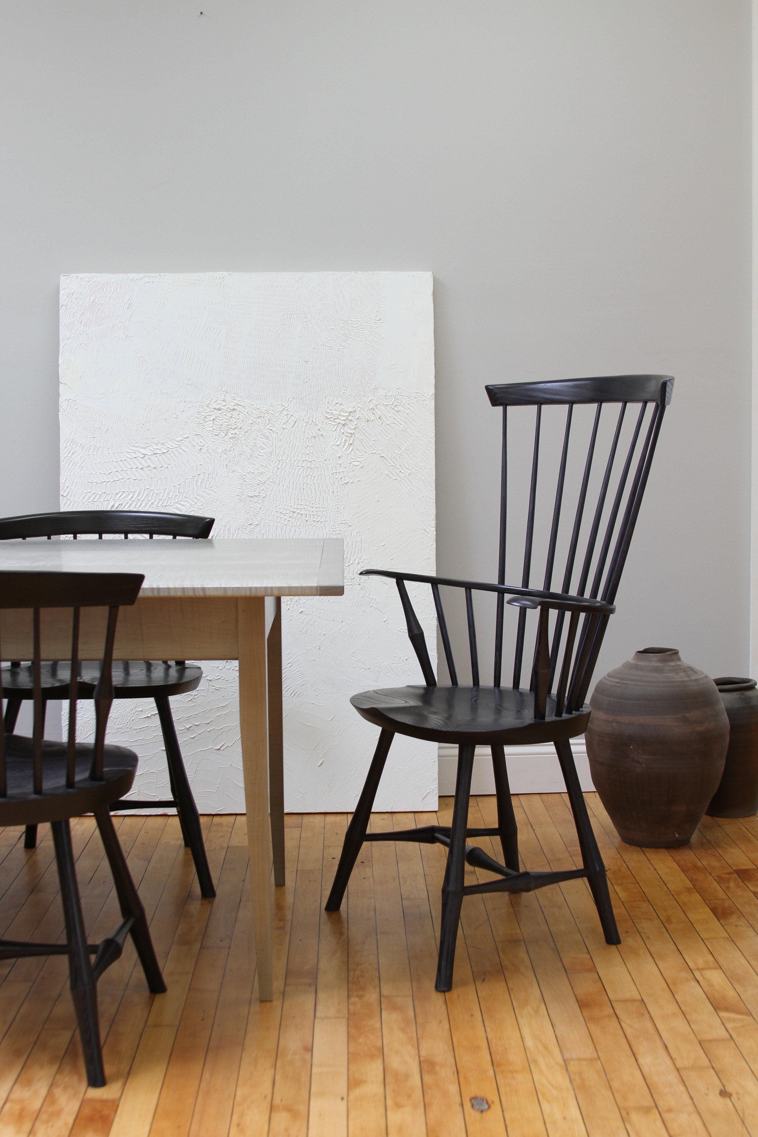 O&G Studio Wayland Highback Armchair Windsor Chair Azimuth Stain Ash