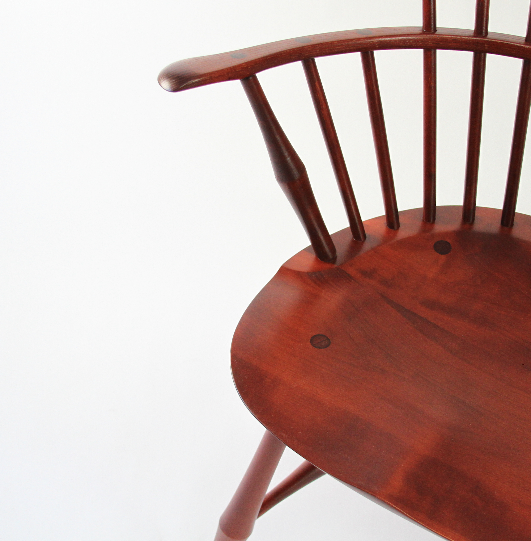 O&G Studio Wayland Highback Armchair Windsor Chair Cherry Stain Maple