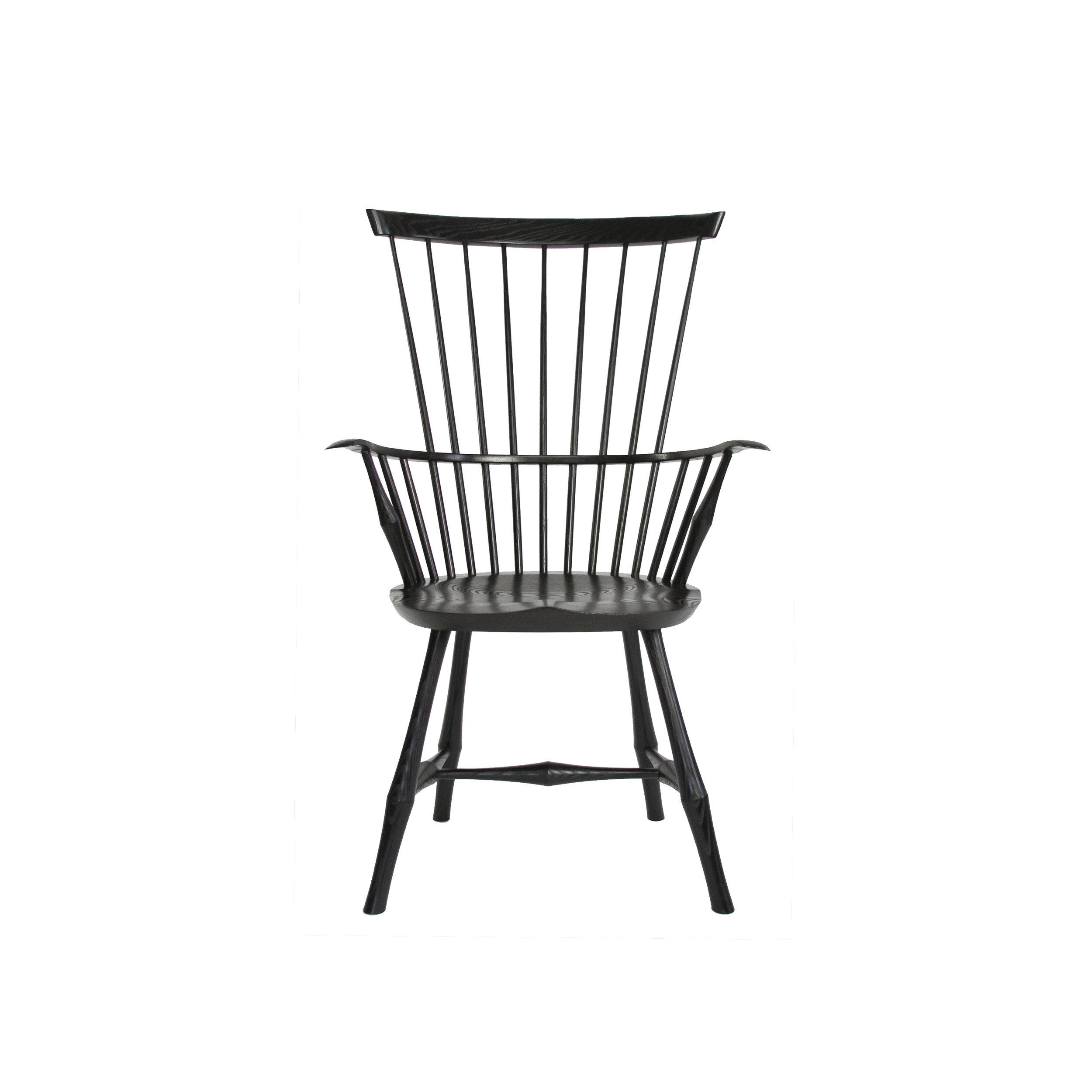 O&G Studio Wayland Highback Armchair Windsor Chair Ebony Stain Maple