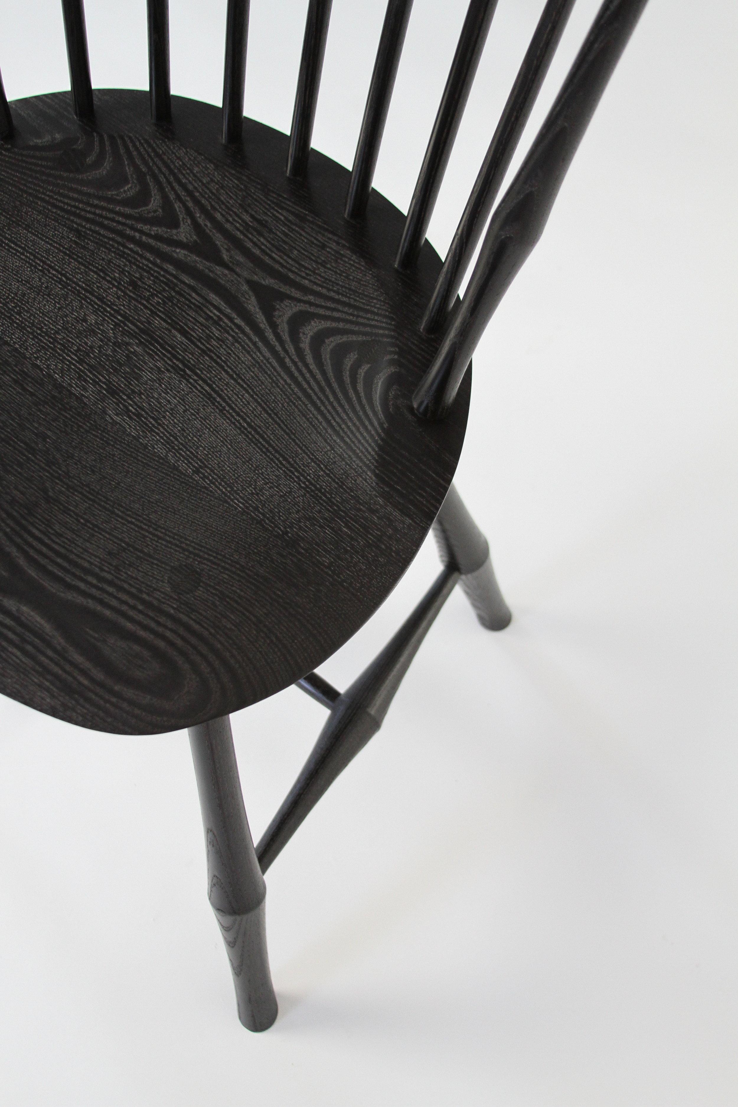 O&G Studio Wayland Highback Side Chair Windsor Chair Ebony Stain Ash