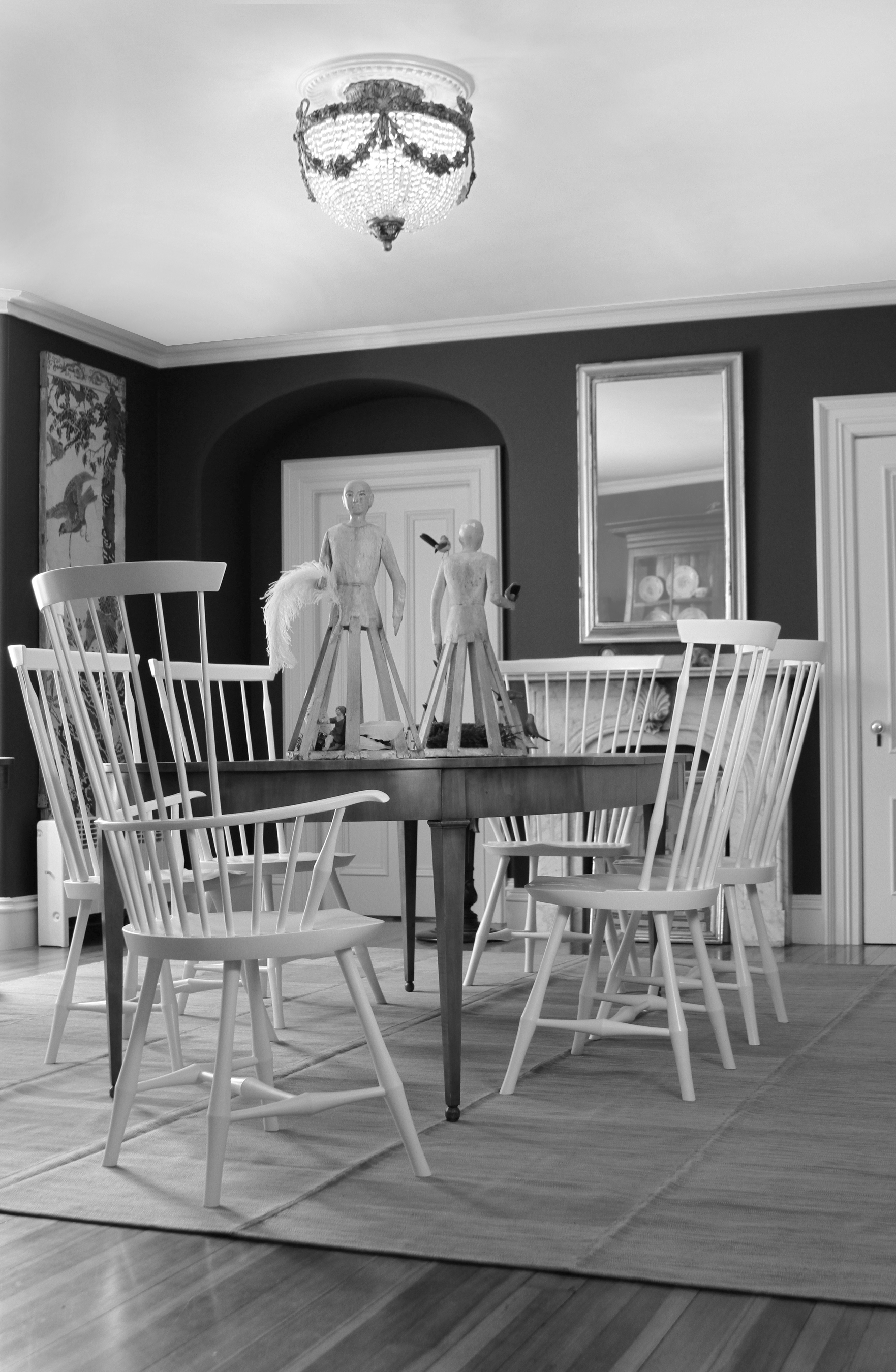 Windsor Chair Wayland High Back Side Armchair White Black O&G Contemporary
