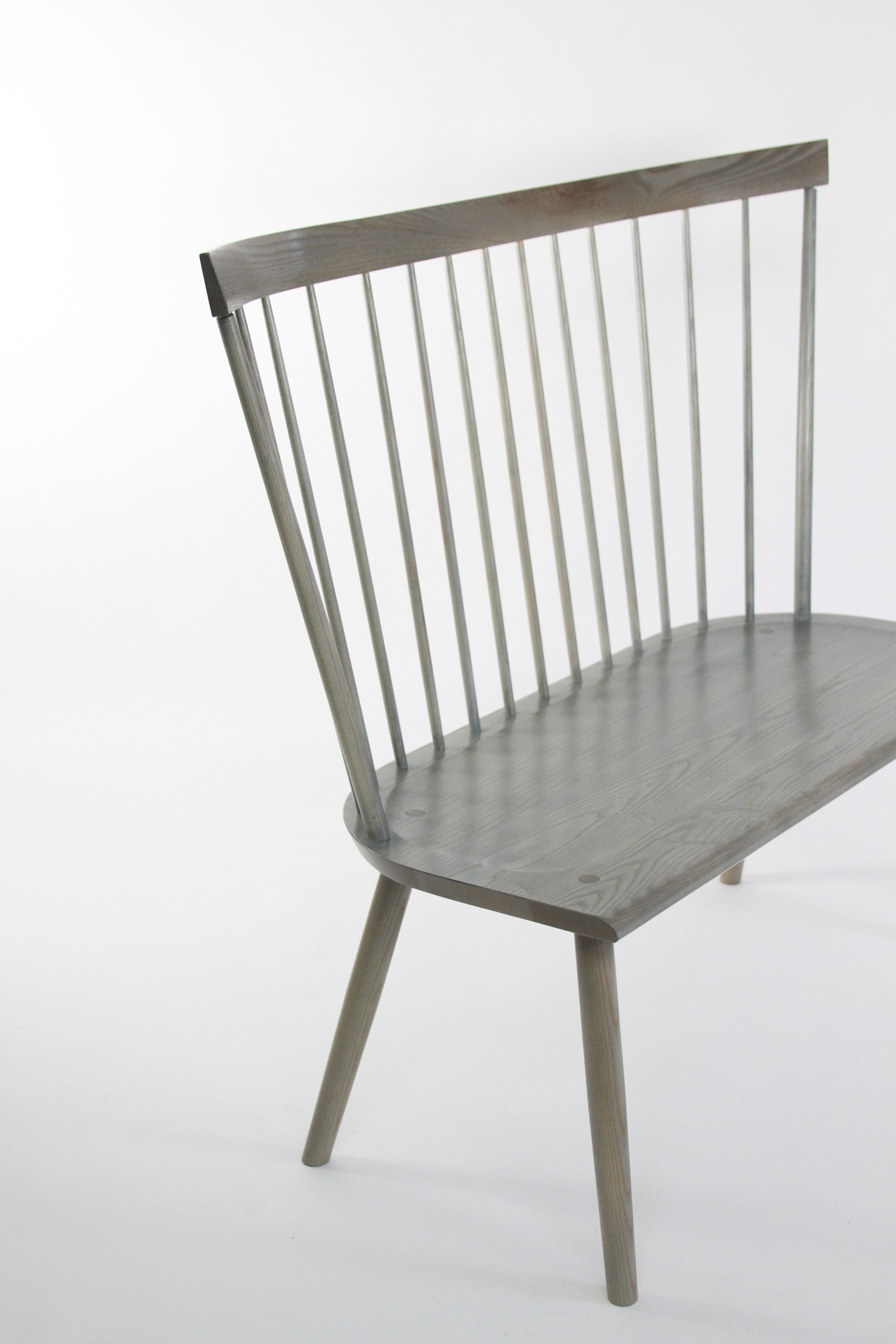 O&G Studio Colt High Back Settee Loveseat Entry Bench Windsor Chair Oyster Light Gray Grey Stain Ash