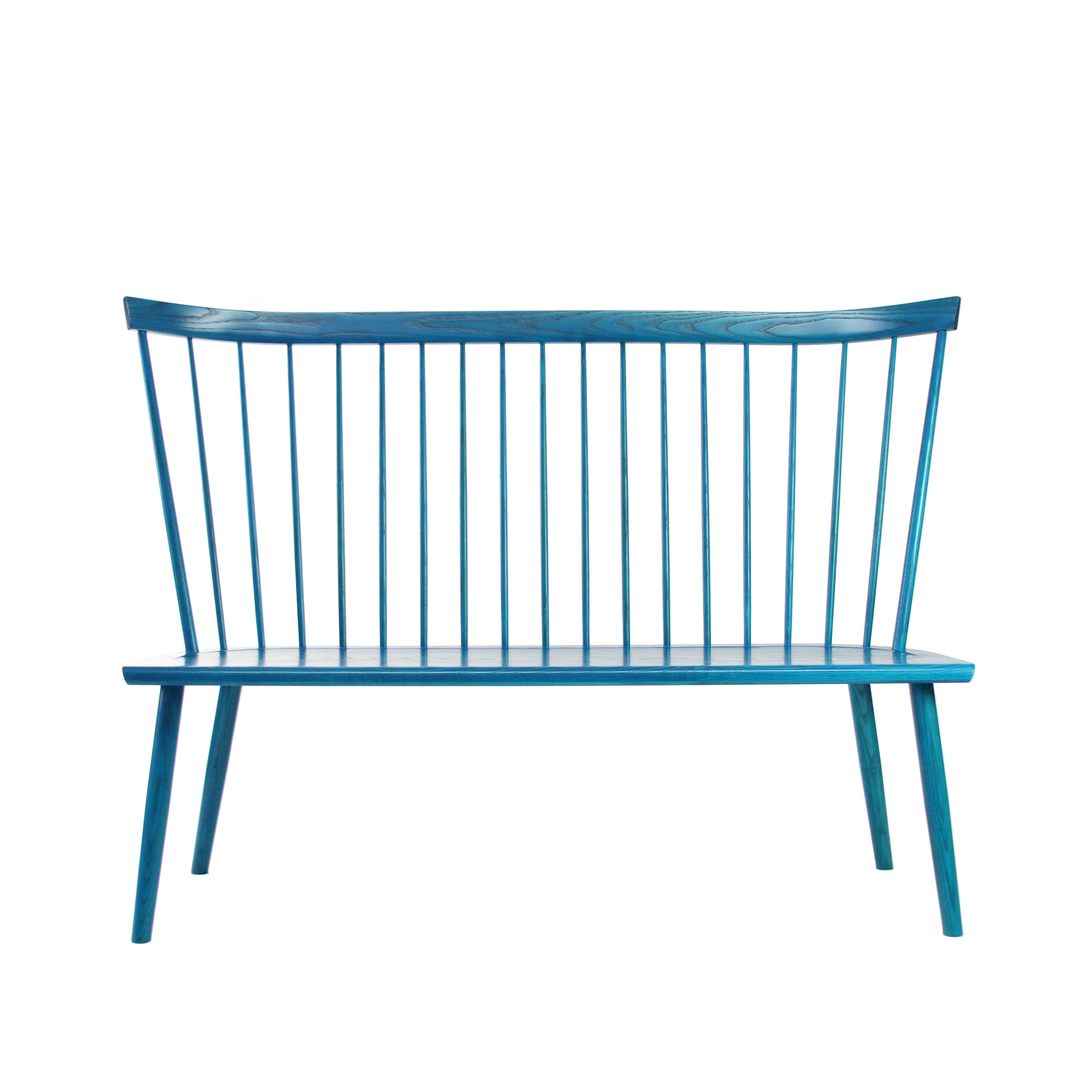 "63"" Cyan Colt High Back Settee Bench Blue Turquoise Stain Ash Stained"