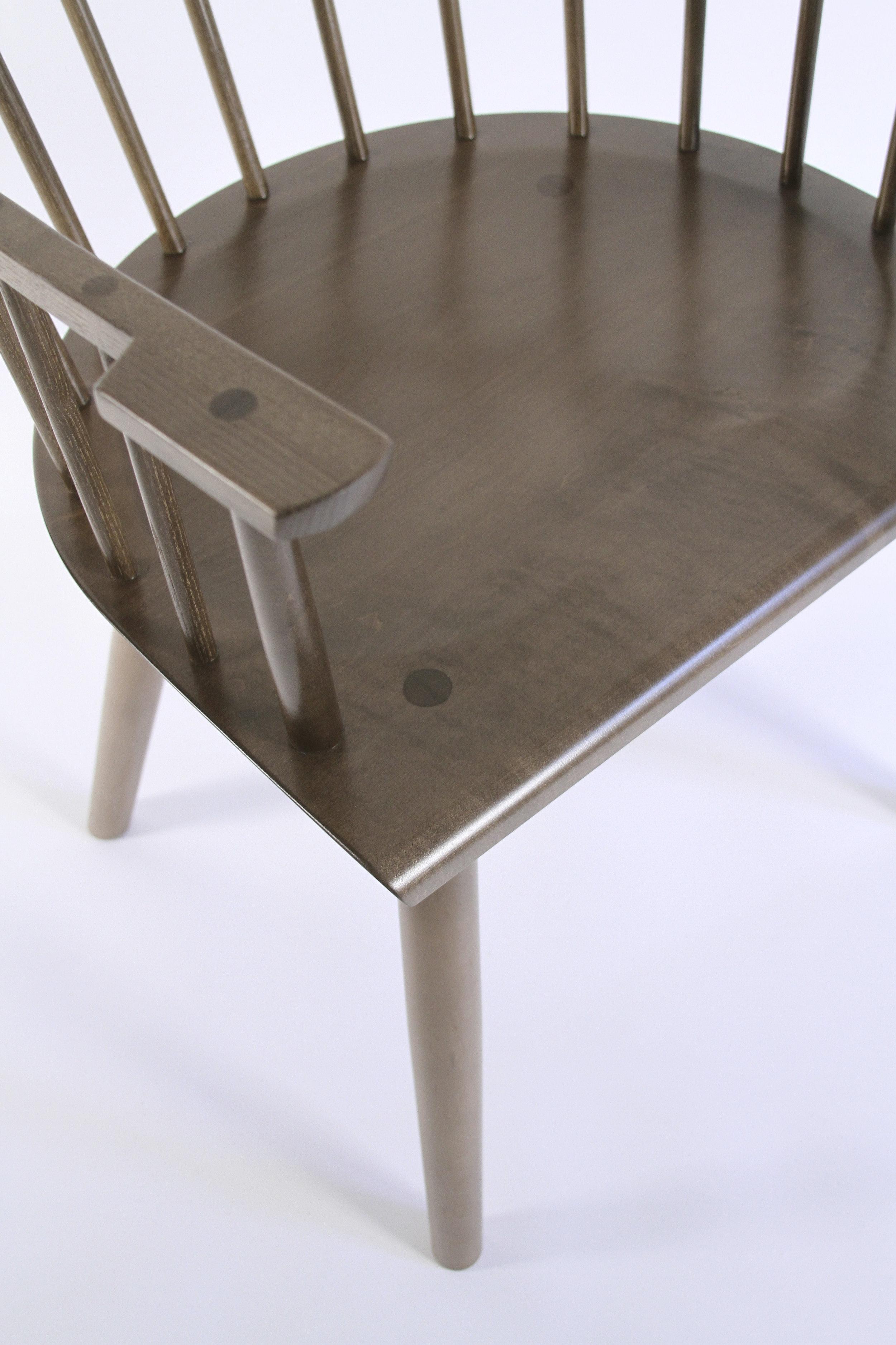 O&G Studio Colt High Back Highback Windsor Contemporary Dining Chair Armchair Large Salt Pond Dark Warm Medium Grey Gray Stain on Maple
