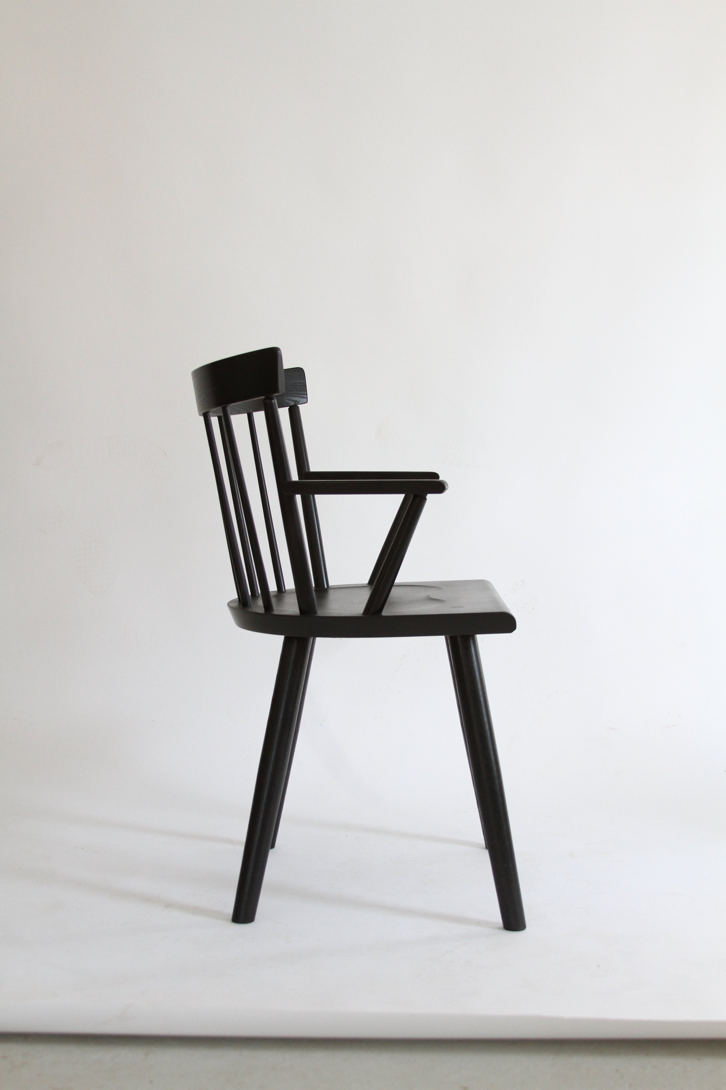 O&G Studio Colt Low Back Lowback Windsor Contemporary Dining Chair Armchair Large Ebonized Ebony Stain on Ash