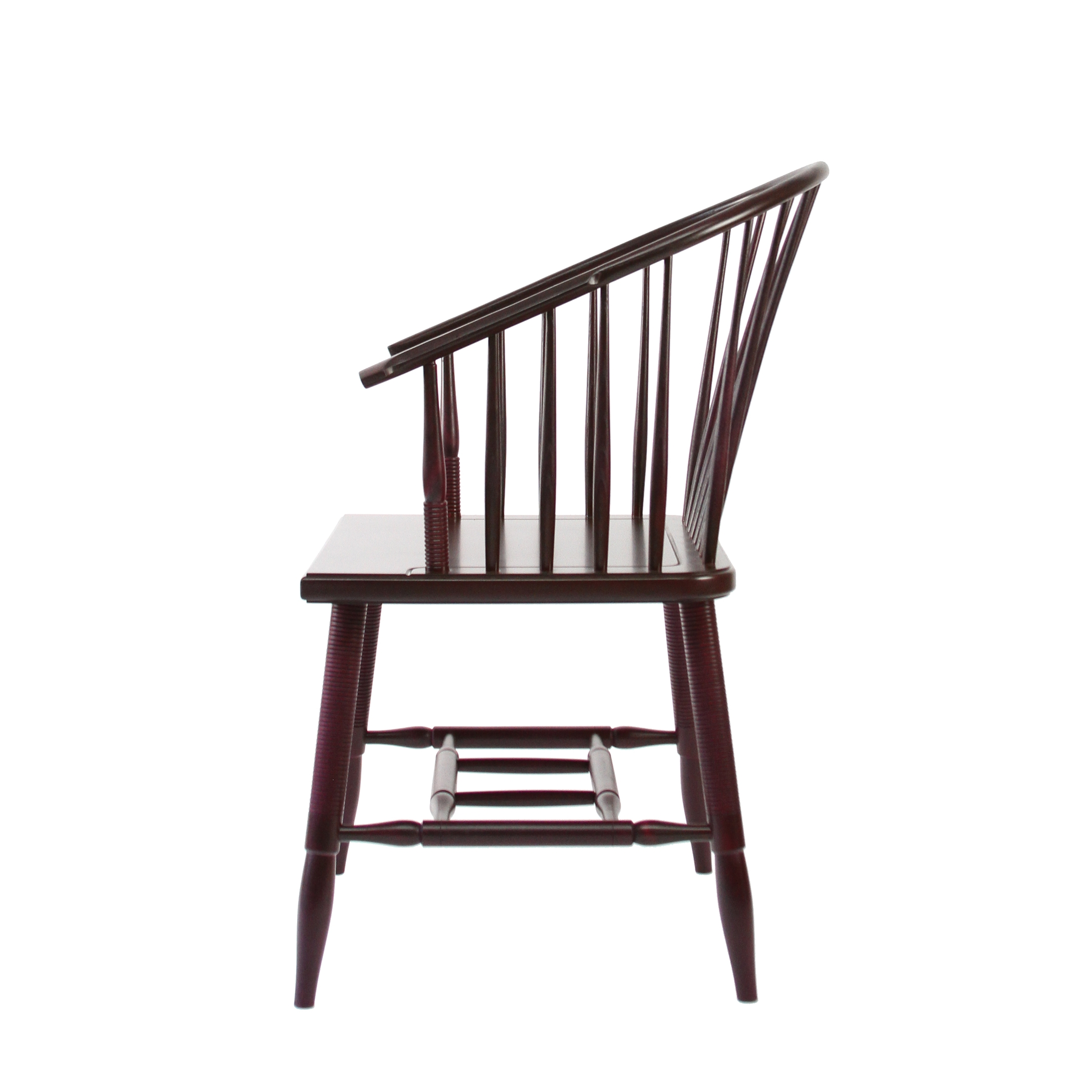 O&G Studio Horseshoe Chinese Armchair Windsor Contemporary Side Dining Chair  Modern Andrew Mau Designed Design Interior Braced Seating Ebonized Maple Black Beet Stained Stain