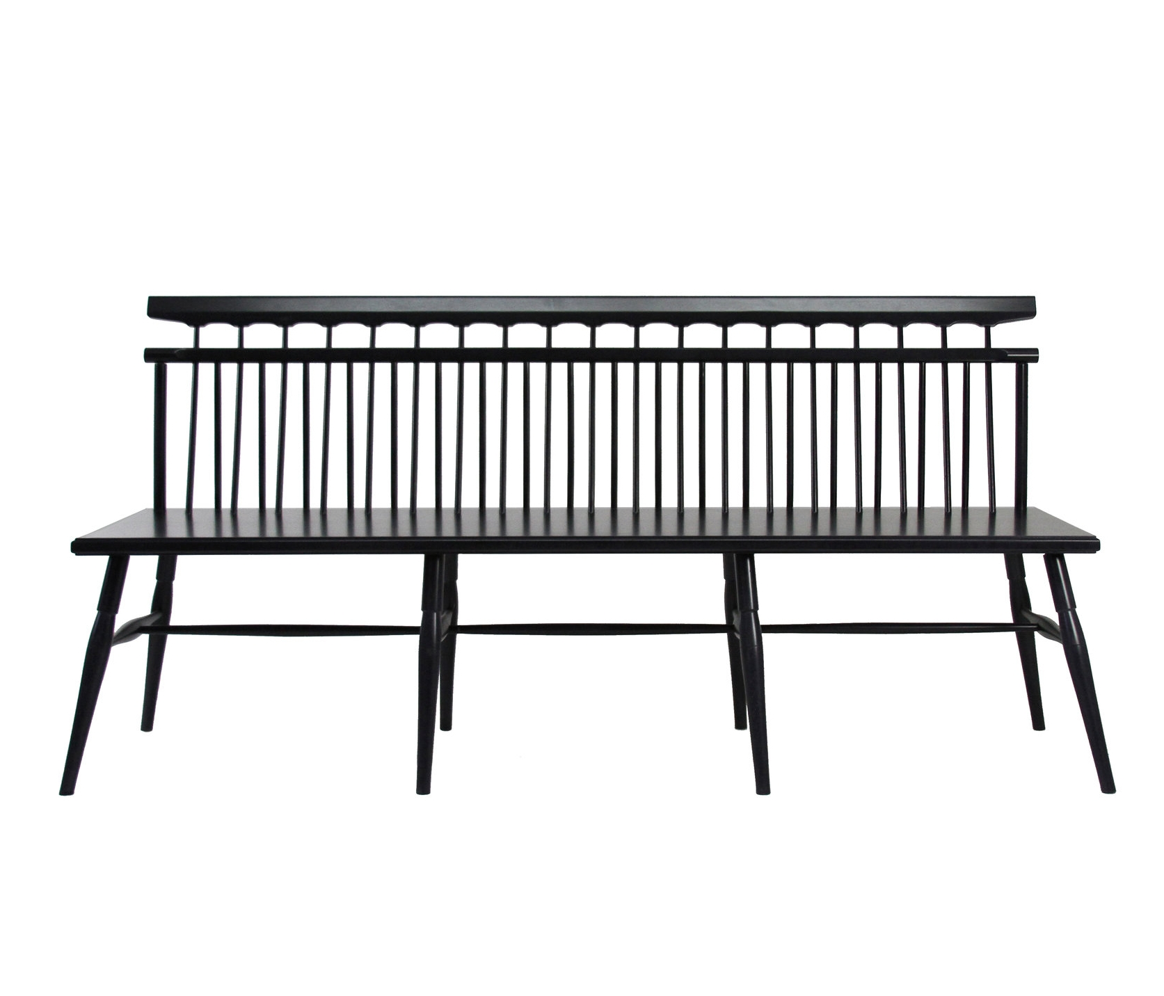 O&G Studio Athenaeum Settee 51 Loveseat Entry Bench Windsor Contemporary Side Moire Seating Modern Andrew Mau Designed Design Interior Braced Seating Ebonized Maple Black Beet Stained Stain