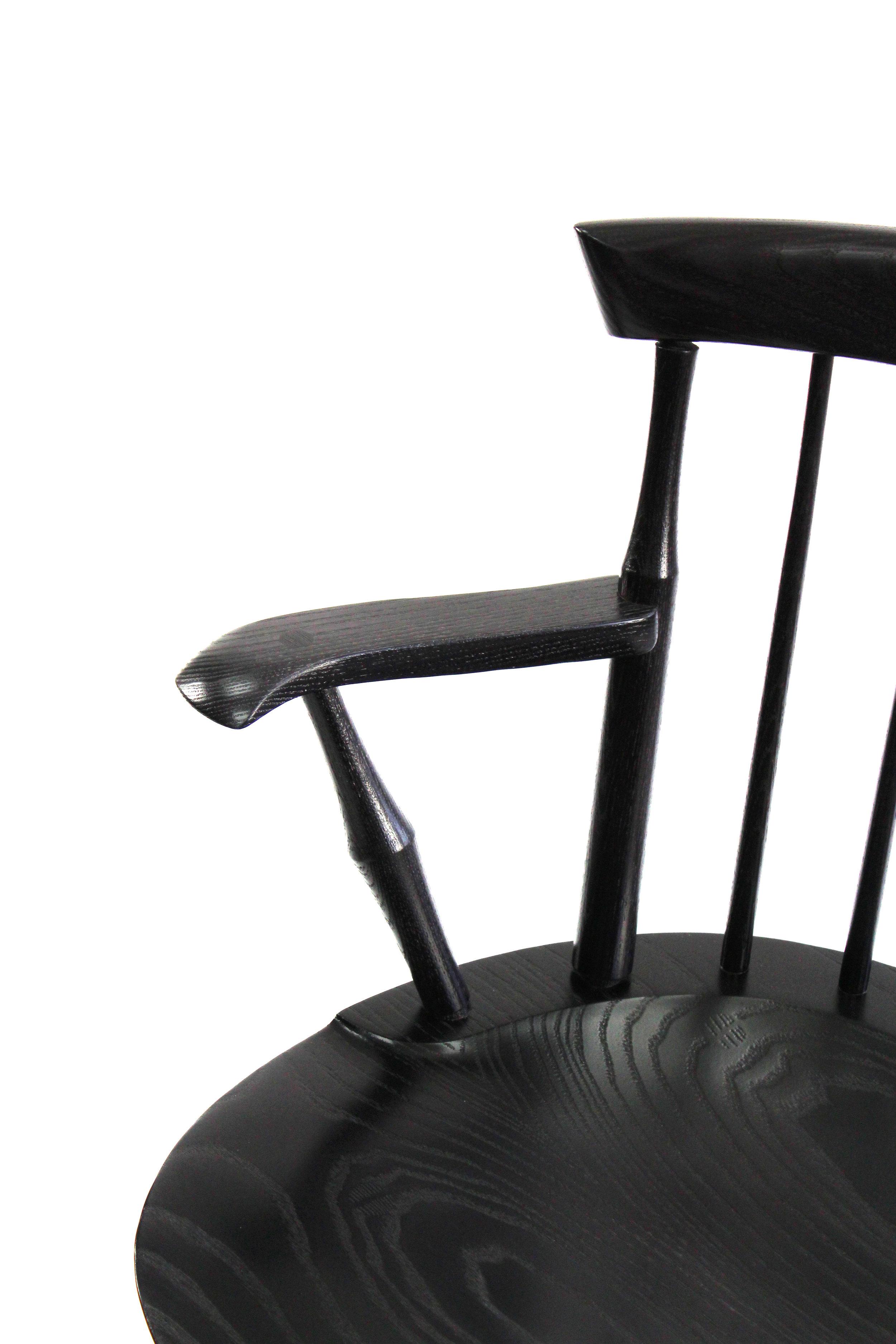 Ebony Maple Stained Ebonized Windsor Wayland Low Back Arm Chair O&G