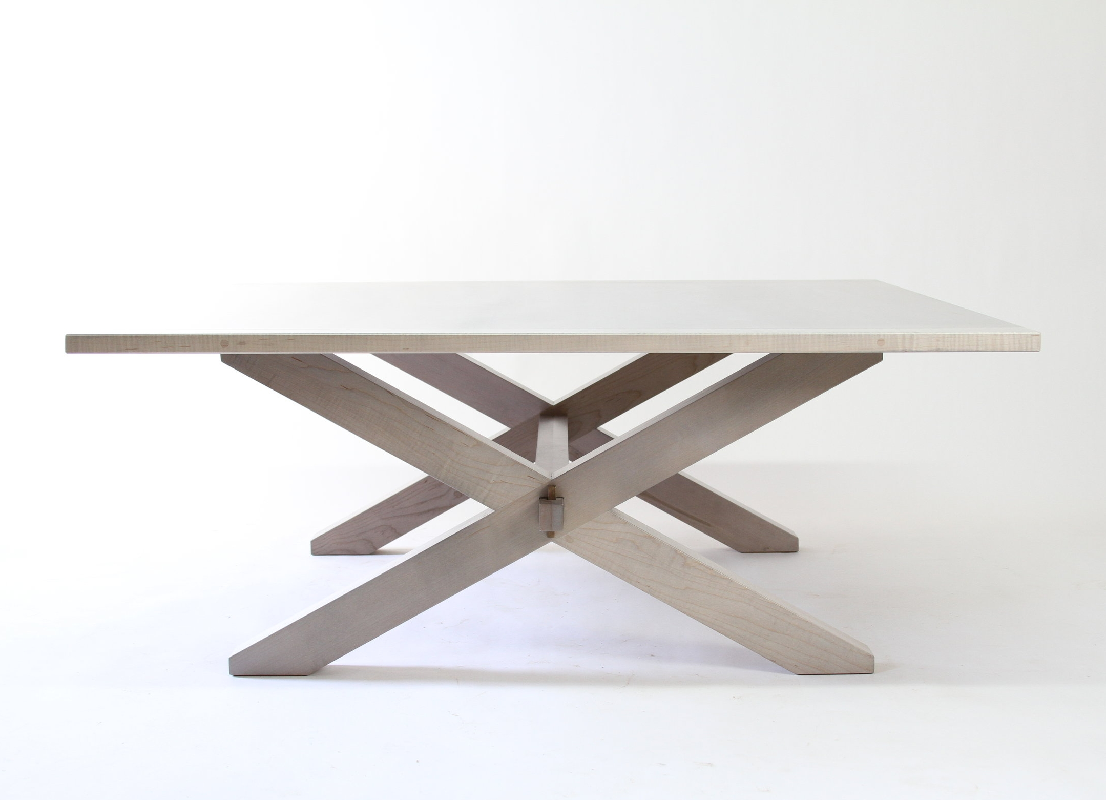 O&G Studio Buck Bench X Base Coffee Table Dining 48 Windsor Contemporary Side Americana Seating Modern Designed Design Interior Seating Oyster Light Grey Gray Whitewashed Driftwood Bronze Wedge Detail Pin Peg Stained
