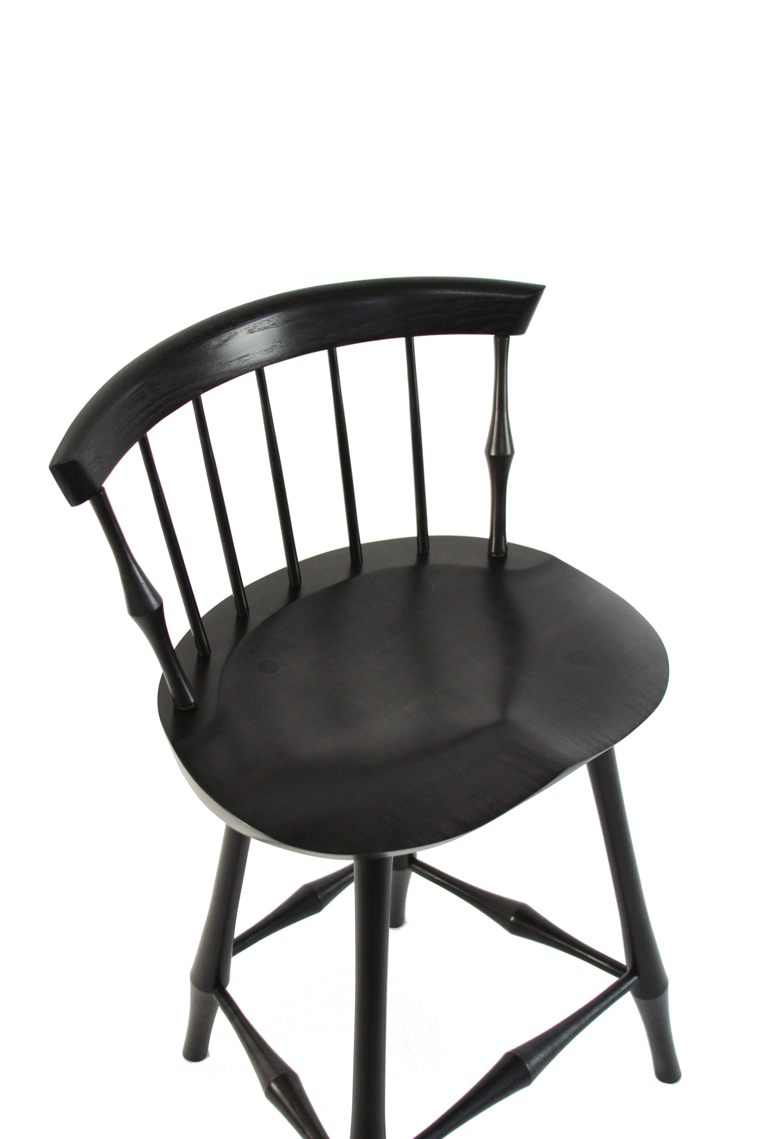 O&G Studio Wayland Fan Back Bar Counter Stool Windsor Contemporary Dining Chair Side Chair Ebonized Black Stain on Maple