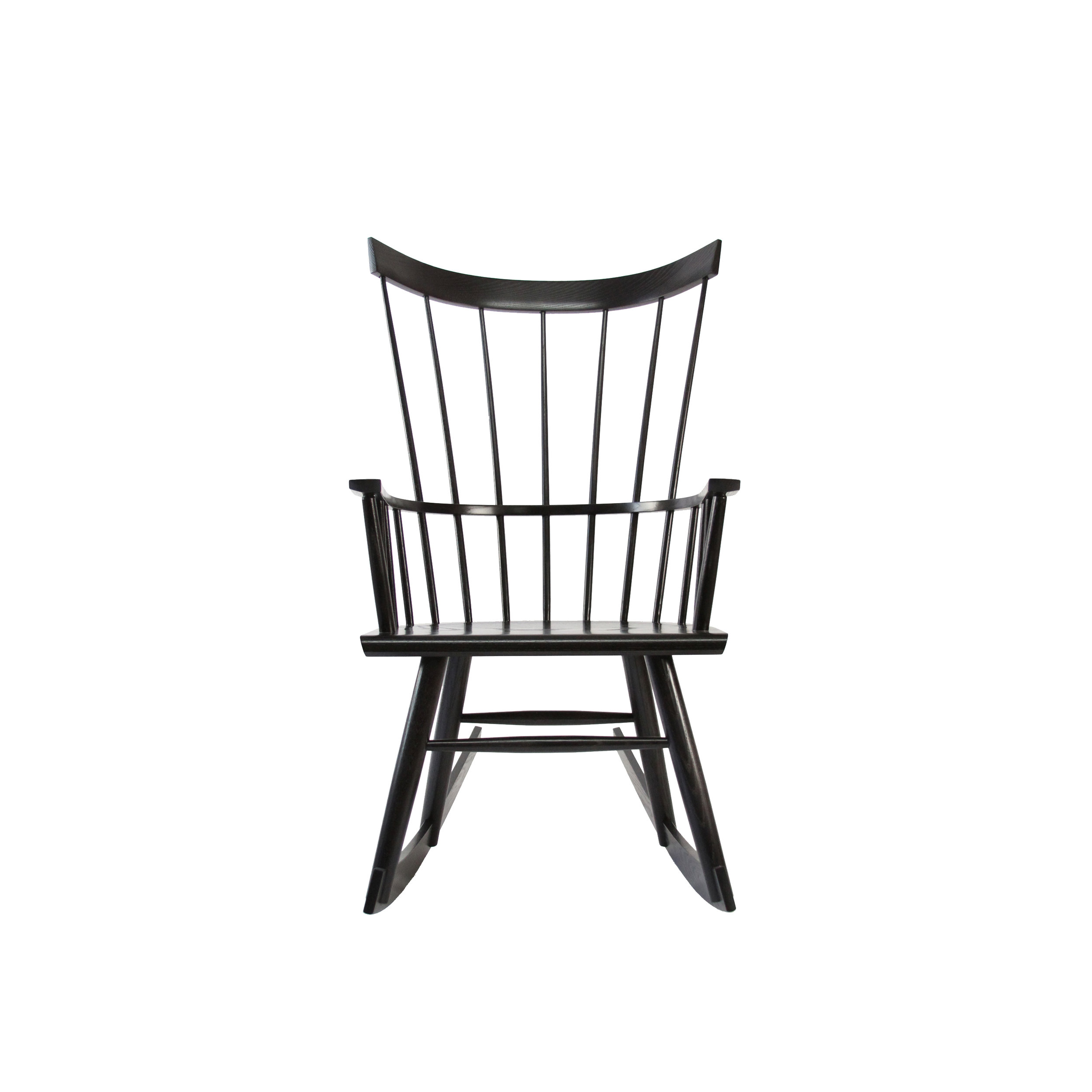 O&G Studio Colt High Back Highback Windsor Contemporary Dining Chair Armchair Large Salt Pond Dark Warm Medium Grey Gray Stain on Maple Rocker Rocking Chair