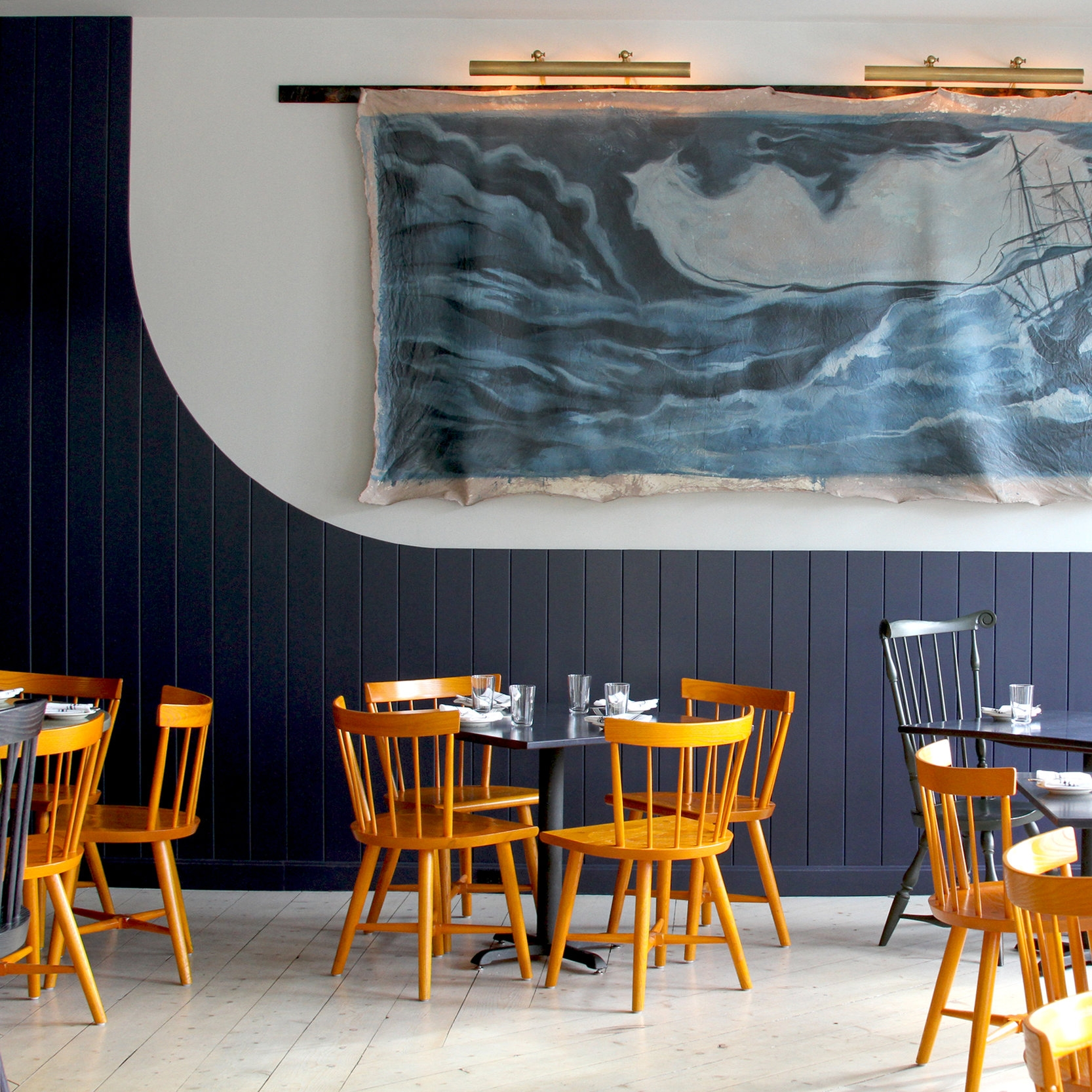 BYWATER RESTAURANT    Warren, Rhode Island     Interior Design by O&G Studio.    Photography by Angel Tucker Photography.