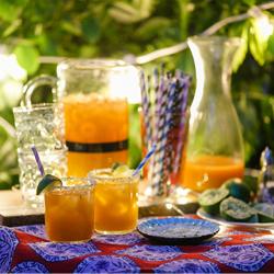 habanero-infused peach margaritas