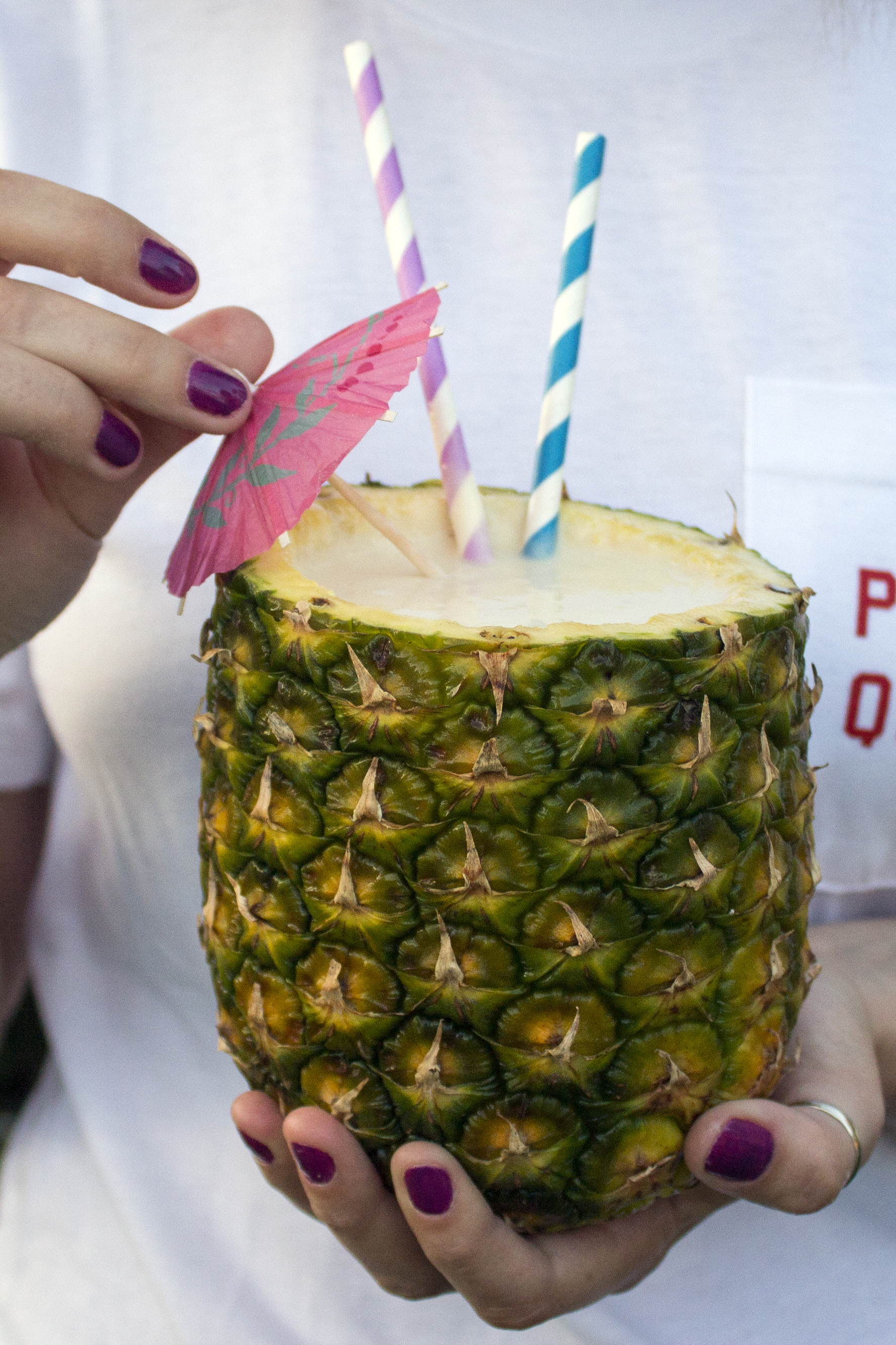 Banana Pineapple Daiquiri served in a Pineapple Cup via Unusually Lovely