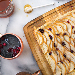Pear and Brie tart with cranberries