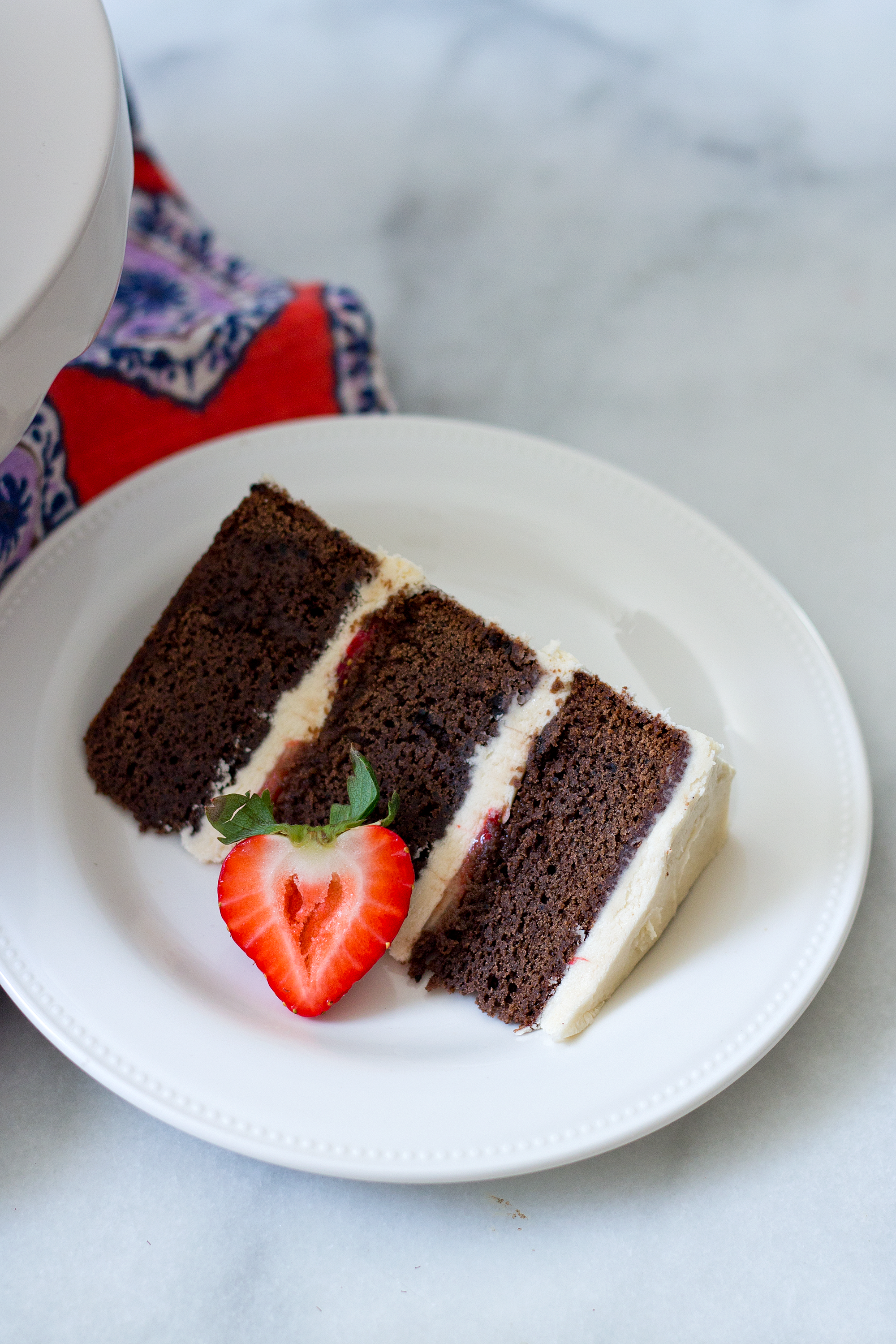Brownie Layer Cake with Strawberries via Unusually Lovely