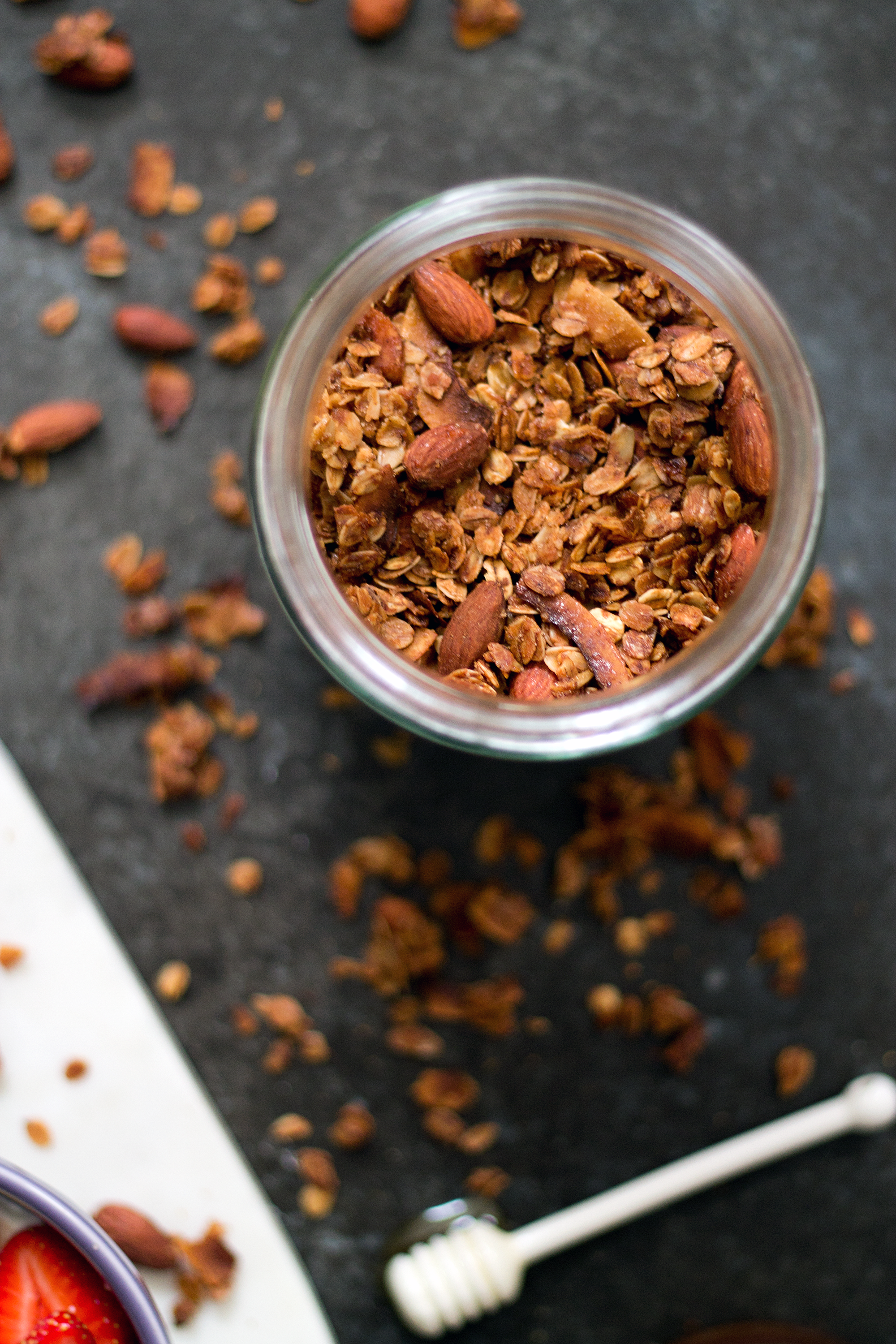 Simple Granola with cinnamon, almonds, and coconut. The Unusually Lovely Blog.