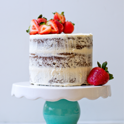 Brownie layer cake with strawberries